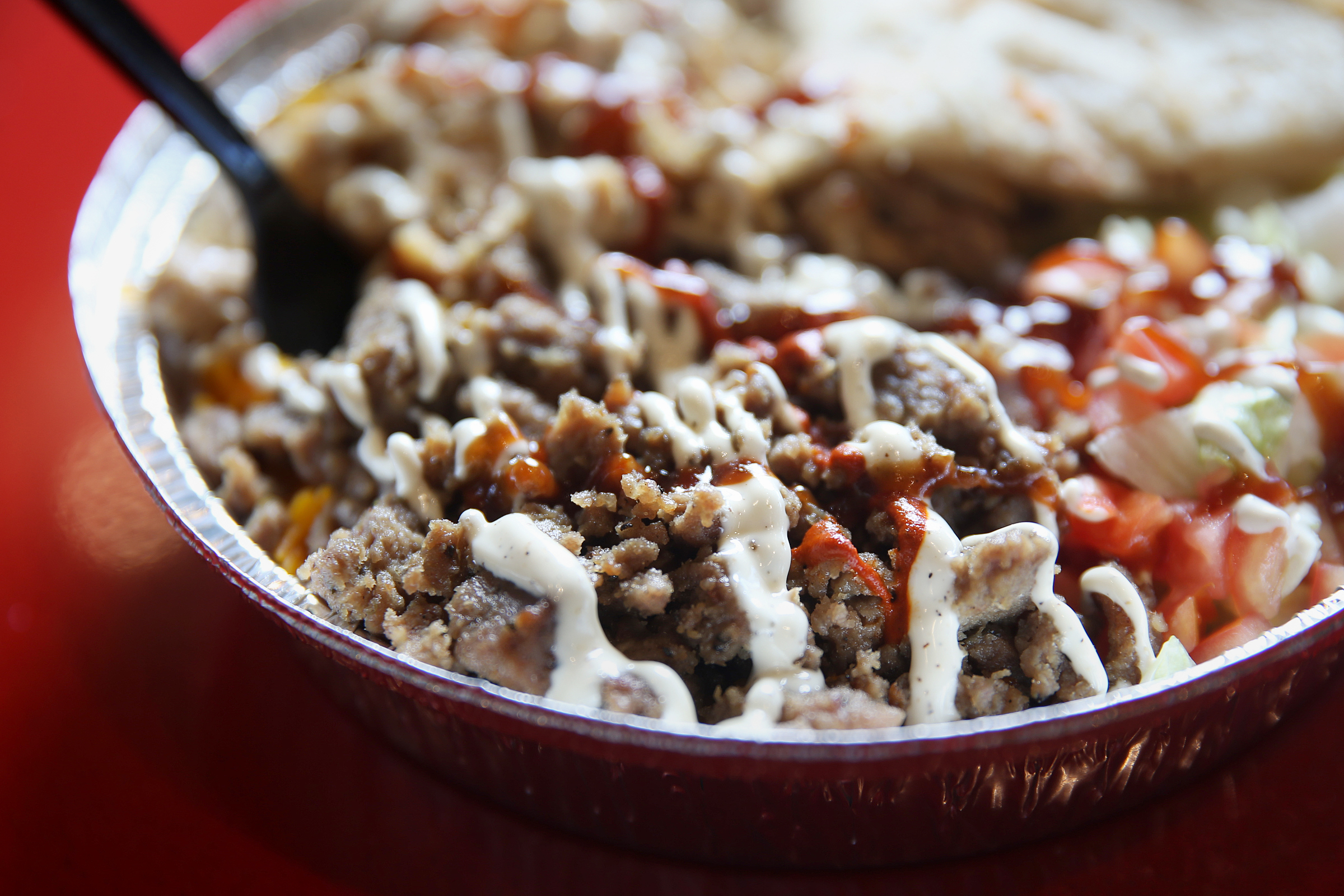 The chicken combination bowl is pictured at Halal Guys in Northeast Philadelphia.