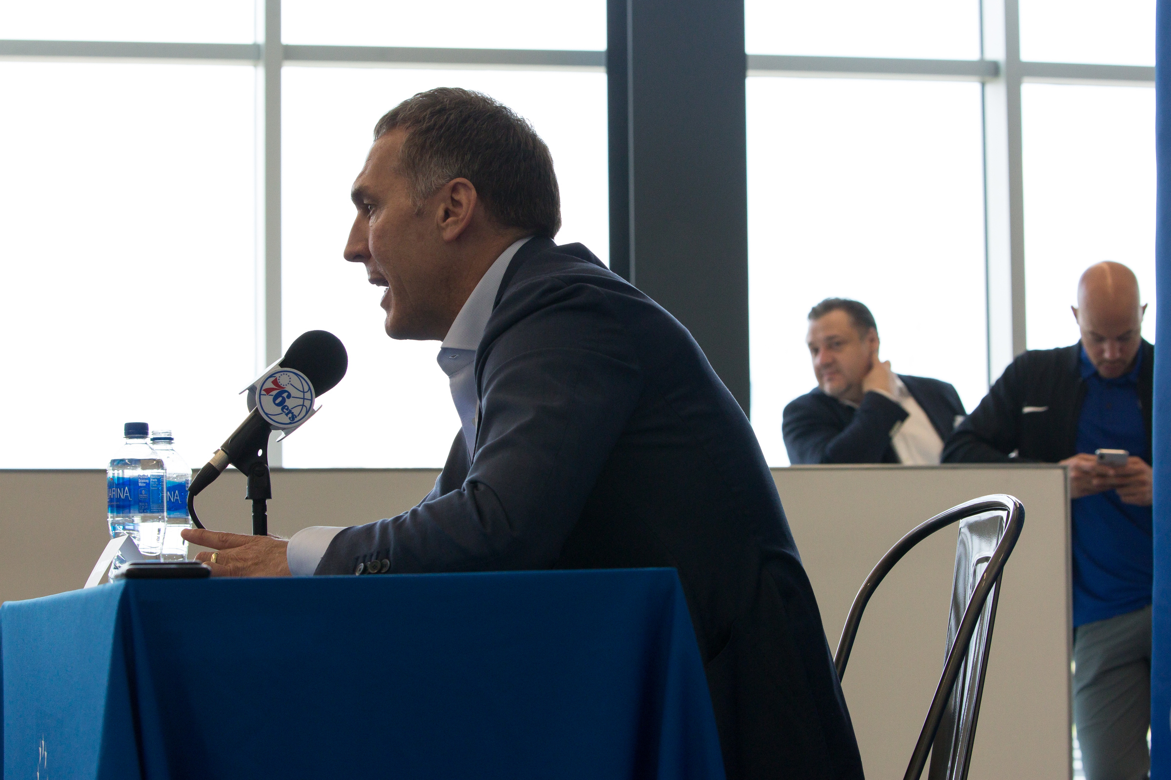 Sixers´ GM Brian Colangelo speaks with the media during a press conference at the Sixers practice facility on Friday.