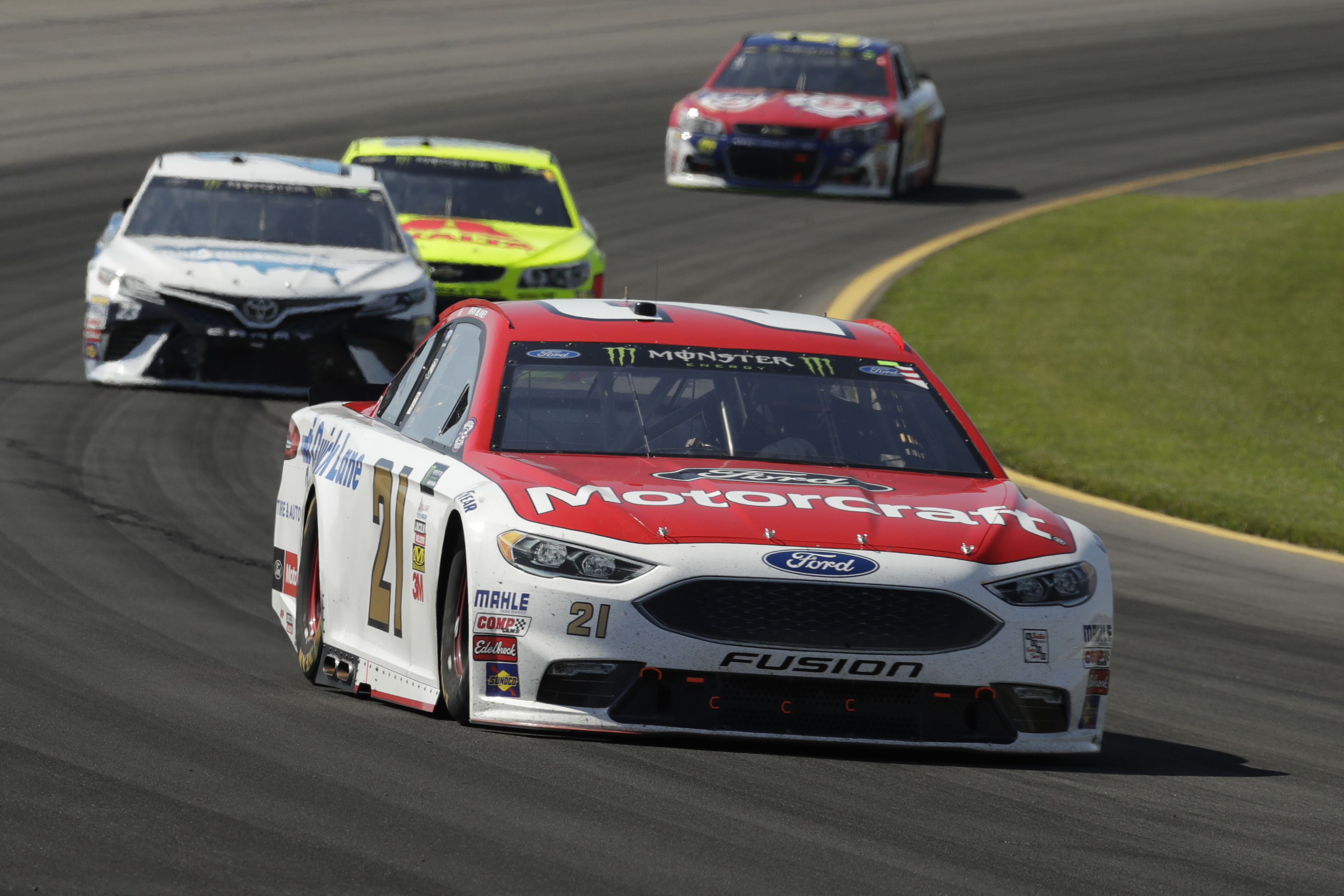 Ryan Blaney in action during the NASCAR Cup Series Pocono 400 auto race, Sunday, June 11, 2017, in Long Pond, Pa. (AP Photo/Matt Slocum)