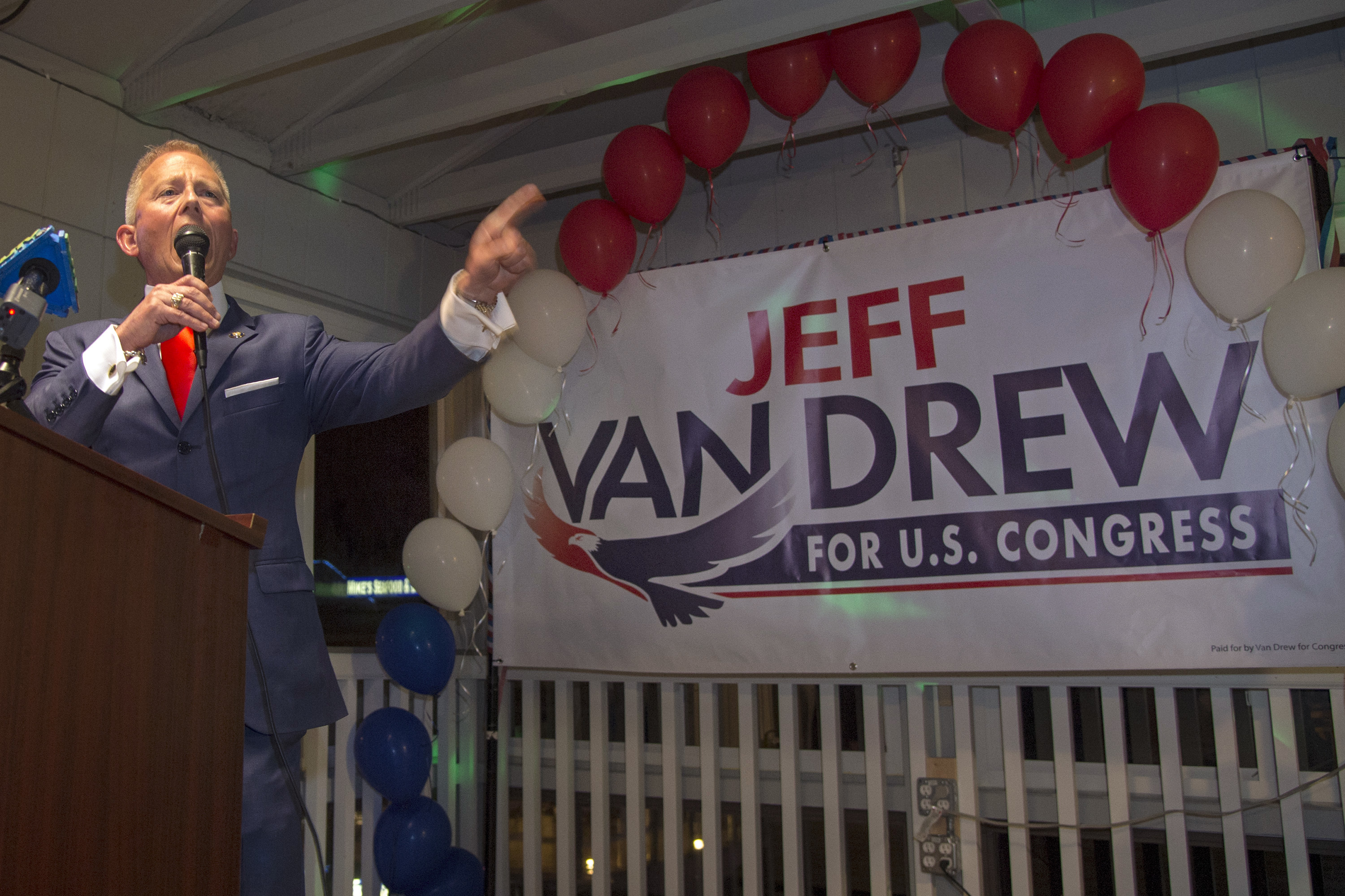 State Senator Jeff Van Drew makes his acceptance speech as the Democratic primary winner in New Jersey´s 2nd Congressional District.