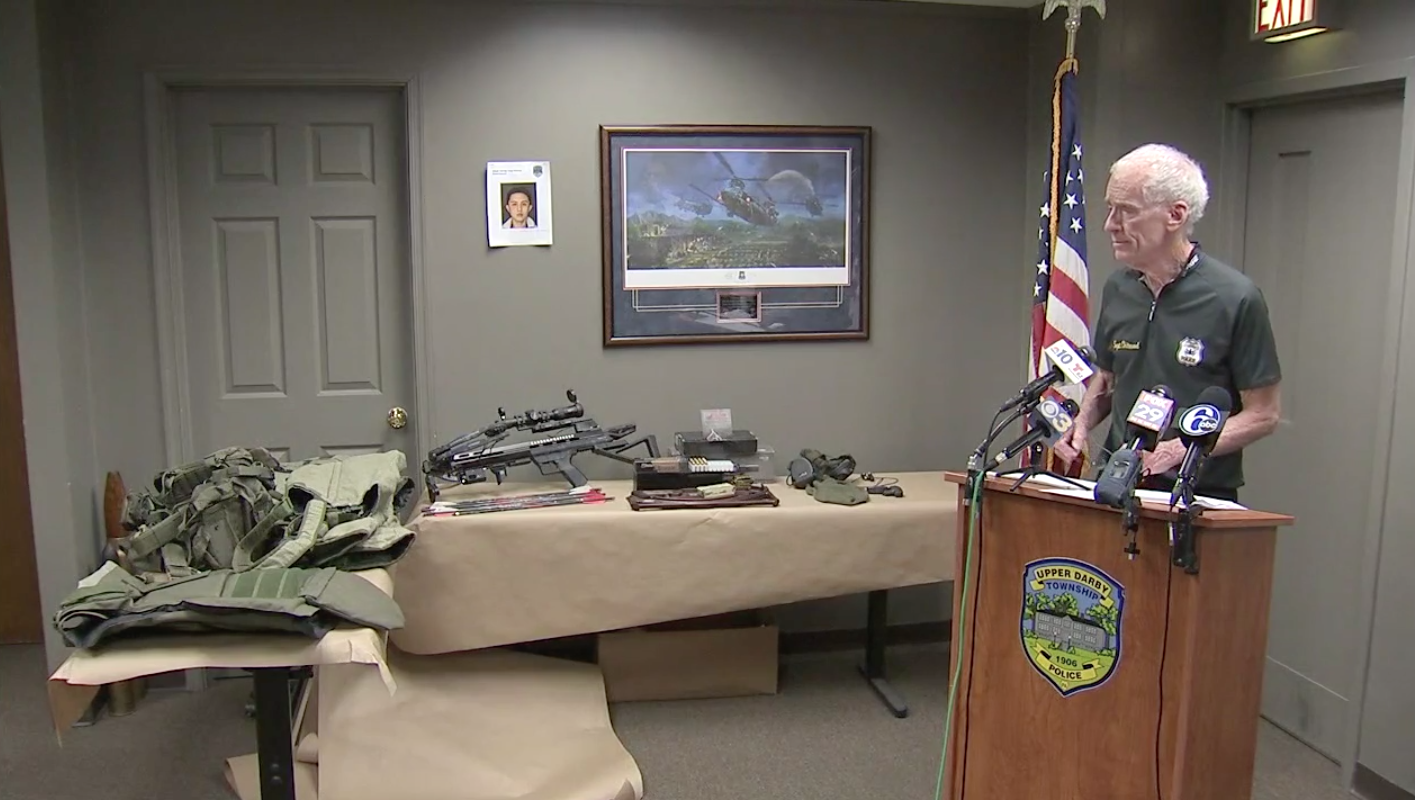 Upper Darby Police Superintendent Michael Chitwood unveils the items recovered in An-Tso Sun´s bedroom during a press conference Wednesday morning.