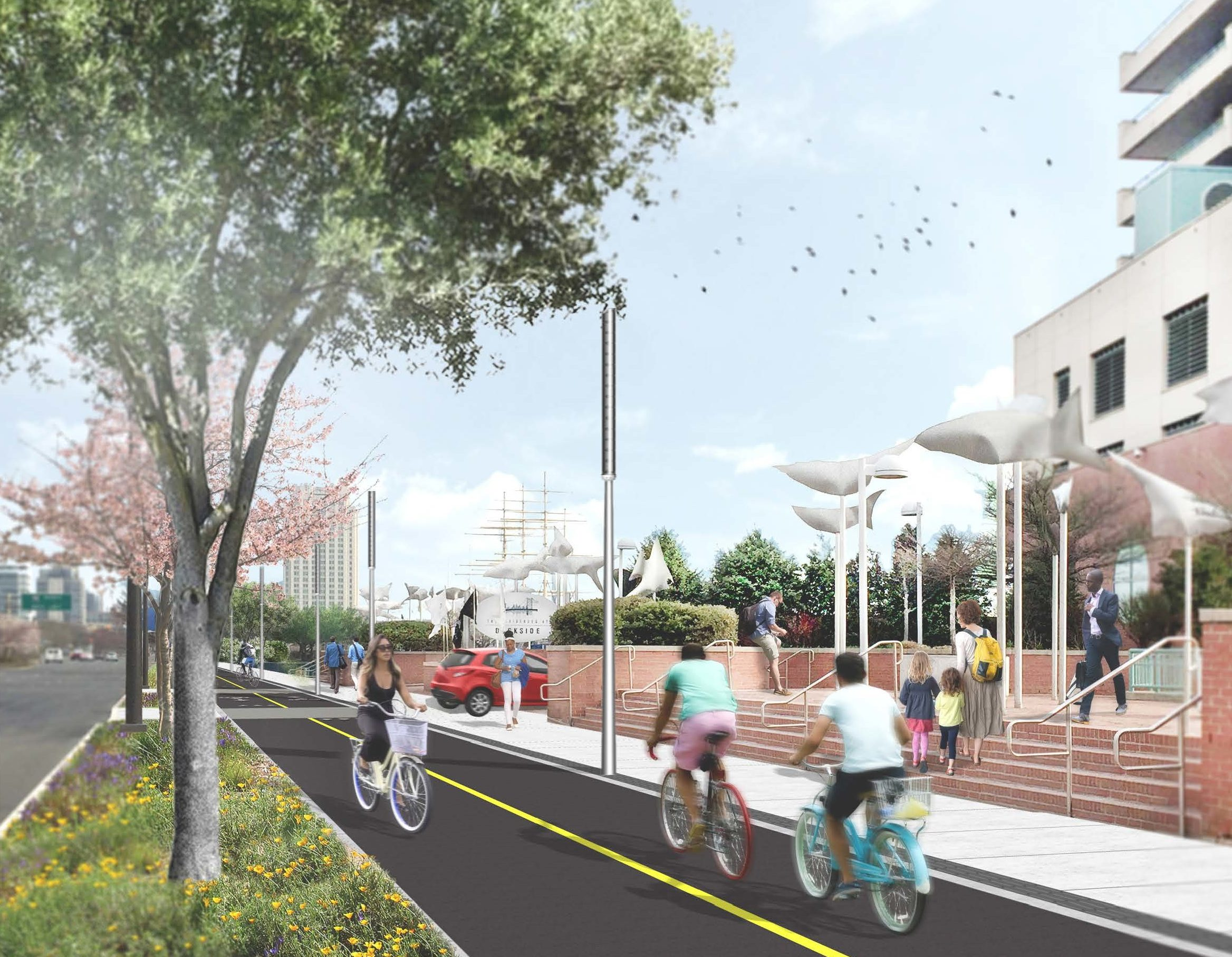 Artist´s rendering of planned waterfront bike and pedestrian trail outside Residences at Dockside condo building on Columbus Boulevard south of South Street.