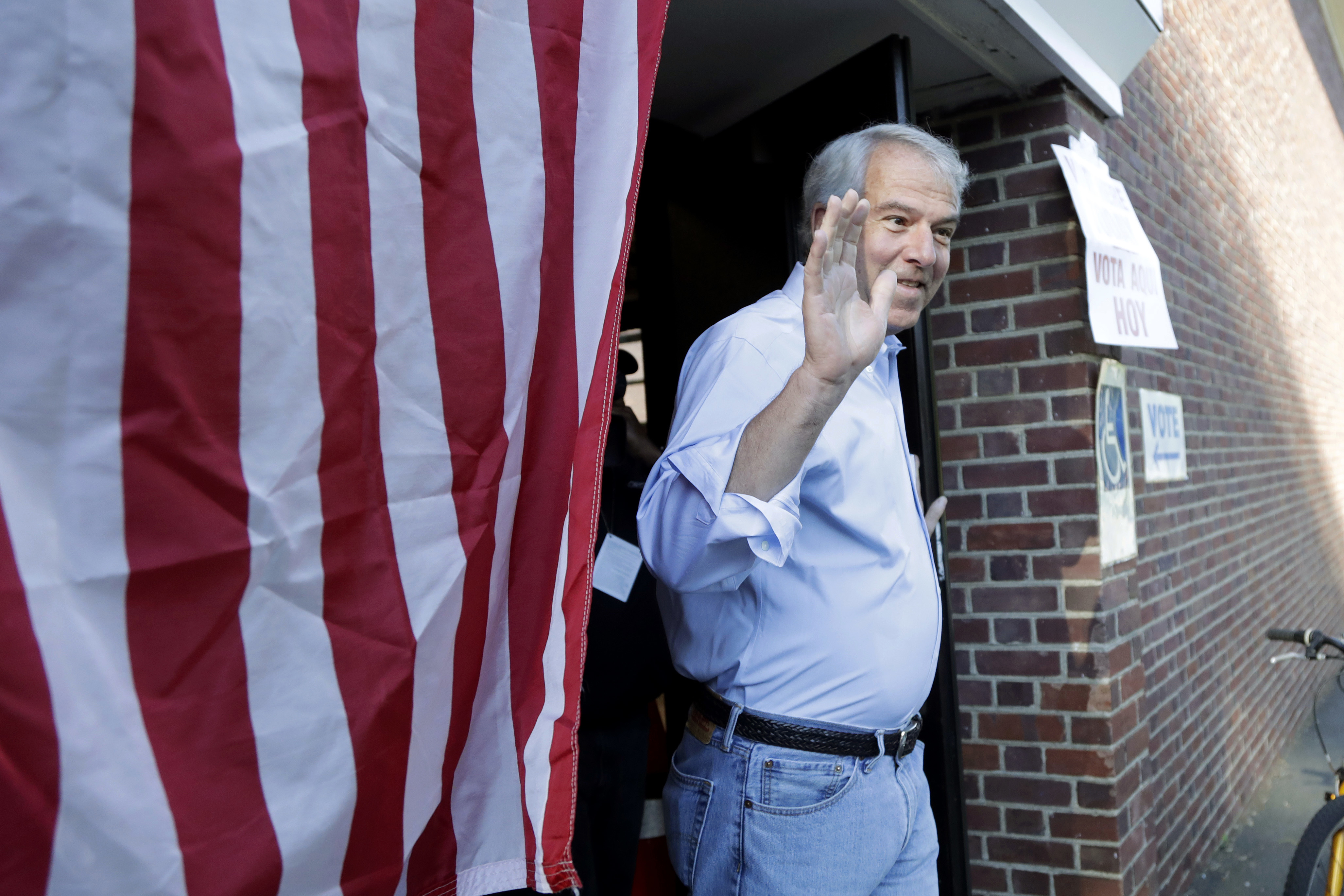 Bob Hugin, a Republican running for U.S. Senate, gestures while exiting his polling place after casting his vote in the New Jersey primary election Tuesday.