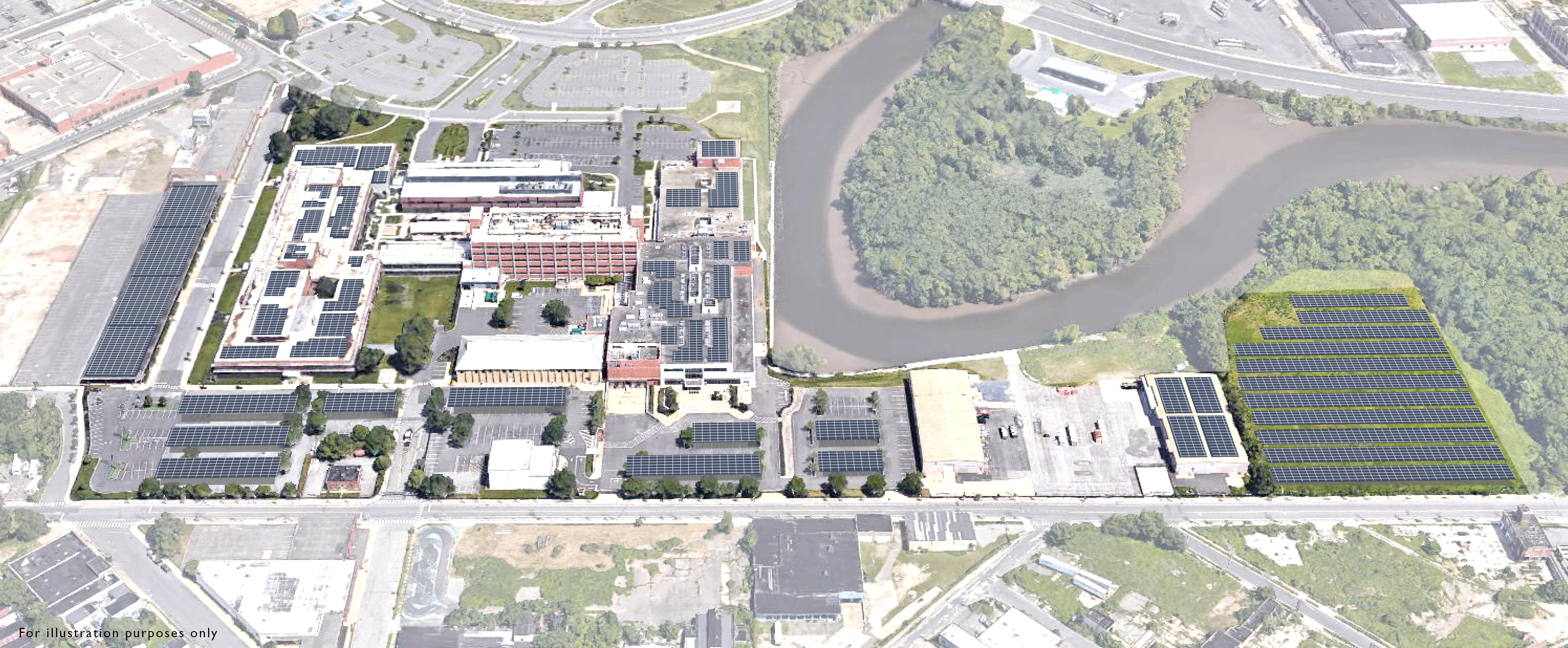 Campbell Soup Co. says it will install a vast array of solar panels over the roofs and parking lots of its Camden headquarters campus, seen here in a project rendering. The 4.4-megawatt solar system would generate about 20 percent of the complex´s annual energy needs when it comes online in late 2017. (CAMPBELL SOUP CO.)