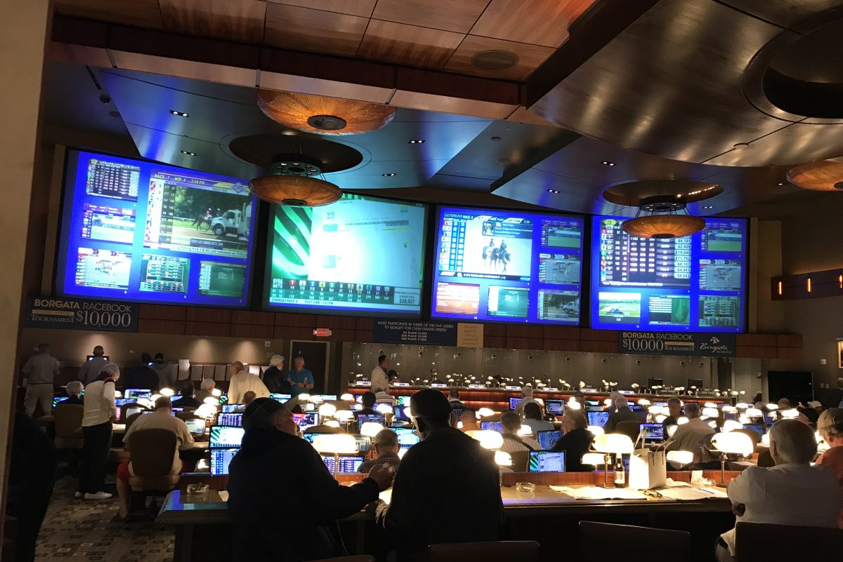 The Borgata's horse-racing parlor is located next to its massive poker room, which could be easily converted into a sportsbook.
