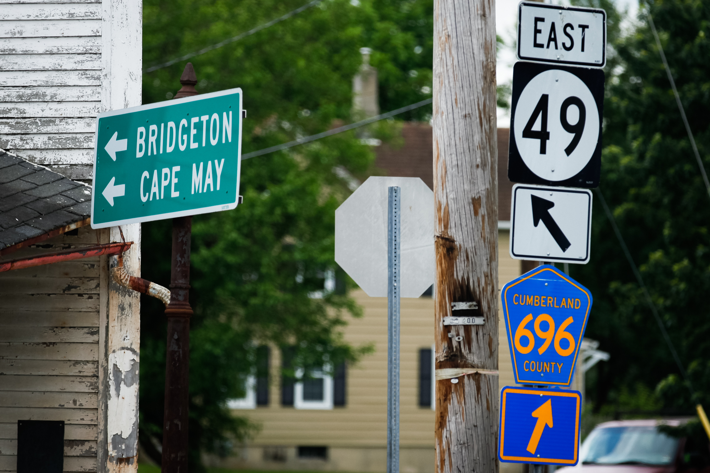 NJ Route 49 is a thoroughfare to get from the western side of South Jersey to southern Shore Points. This intersection with three Cumberland County routes in Shiloh, outside Bridgeton, is complicated -- and a bit forlorn.