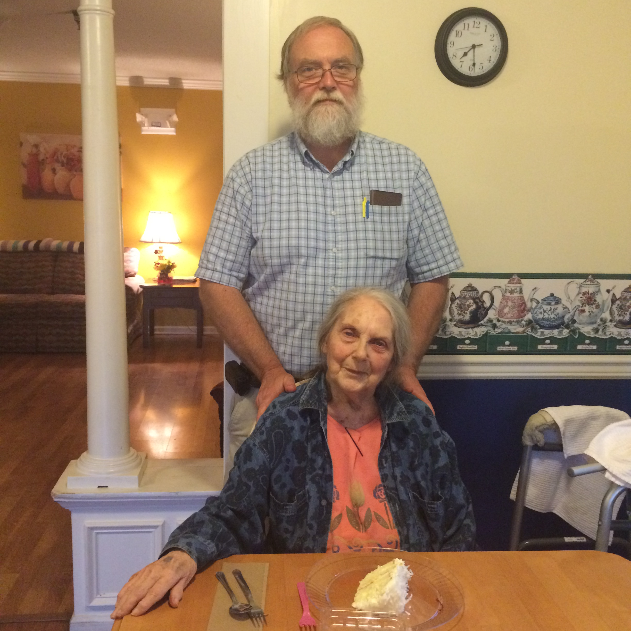 Ardeth Burling on her 87th birthday, with her son, John Burling.