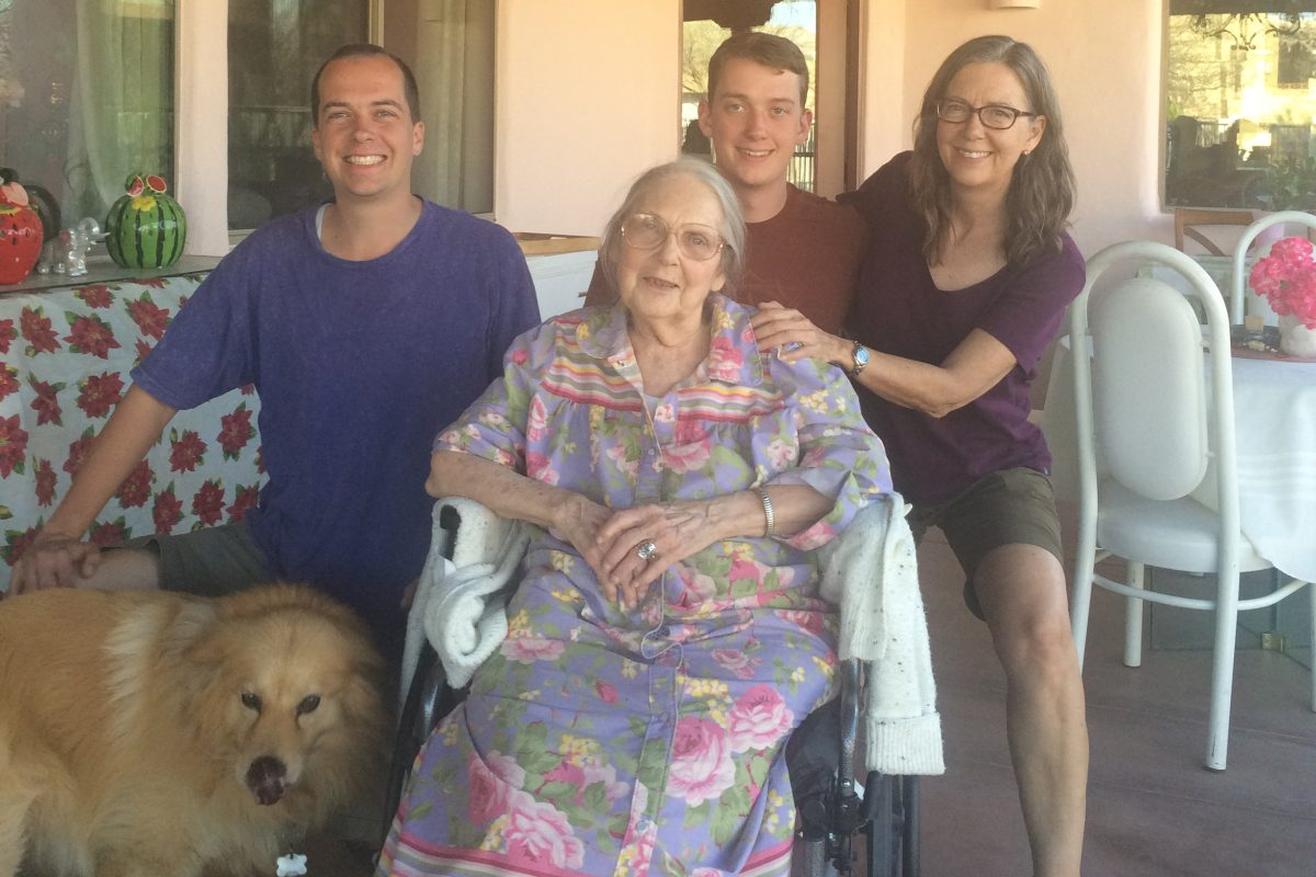 Ardeth Burling, with family, in 2017 at the assisted living facility where she lives. From left are the facility dog, Winston, grandsons Adam and Colin Bredenberg, and daughter, Stacey Burling.