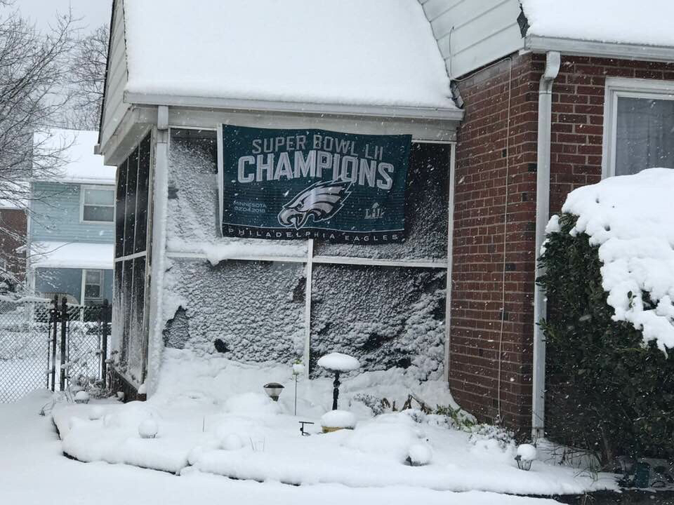 My father wasted no time letting all the neighbors know that his Eagles won the Super Bowl.