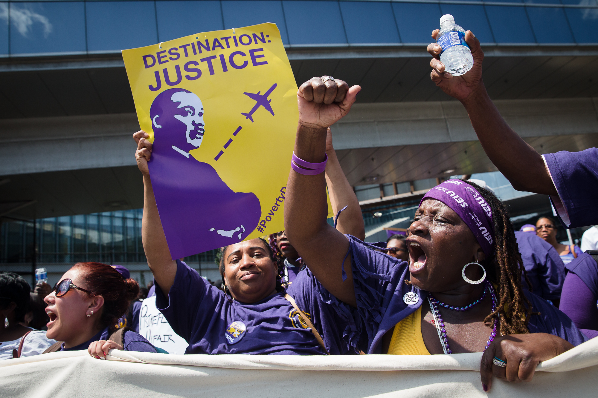 Workers rallied at the airport ahead of the Democratic National Convention in July 2016.