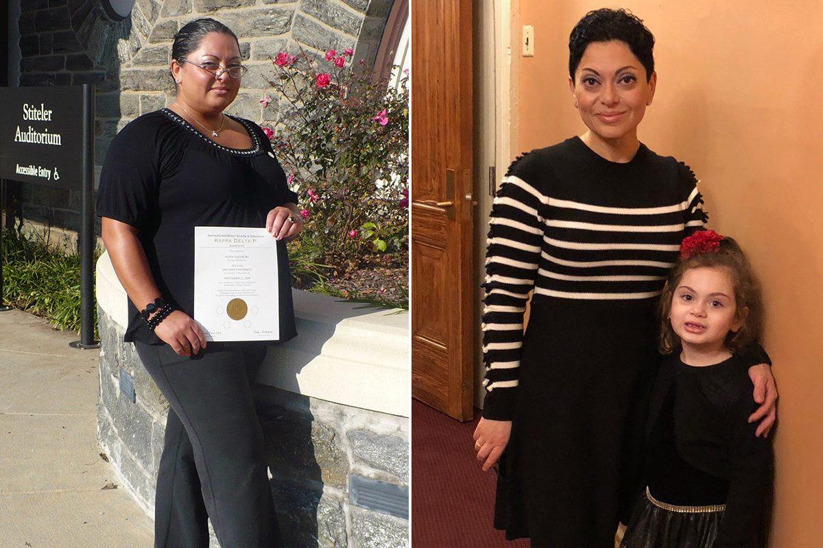 Left, Elina Veksler at 250 pounds. Right, Veksler after losing 102 pounds.