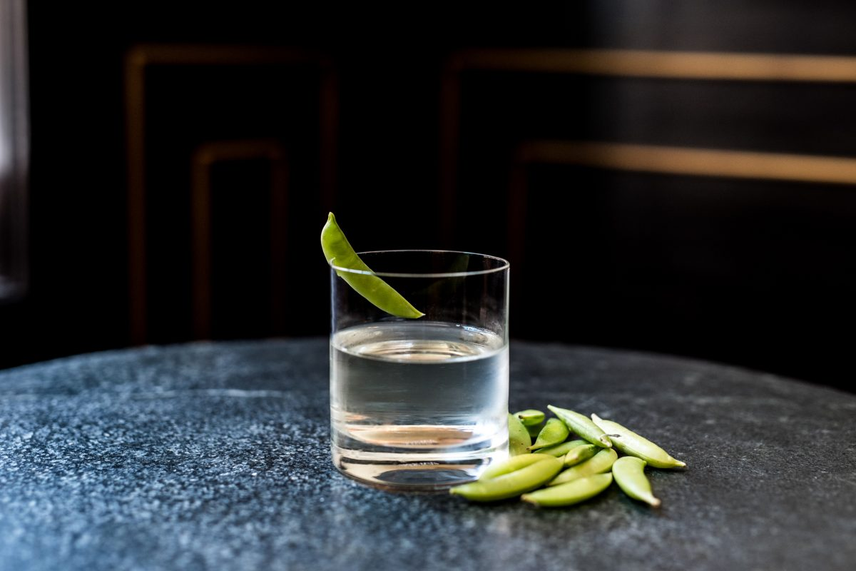 A clean and delicate tequila cocktail, Royal Boucherie´s Baby, Peas Don't Go features a shrub derived from a snap pea and green peppercorn infused champagne vinegar.