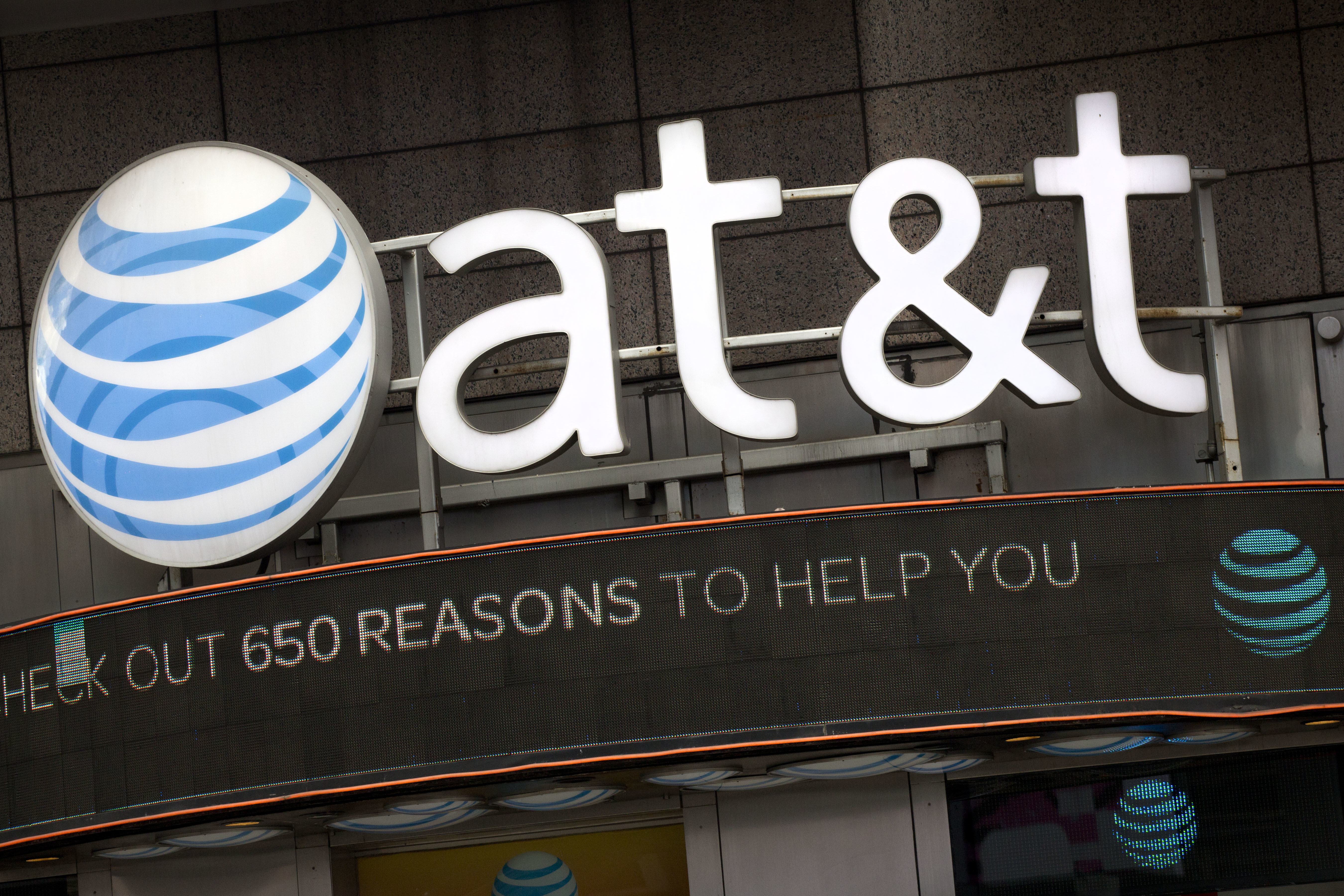 The AT&T logo on a retail store.