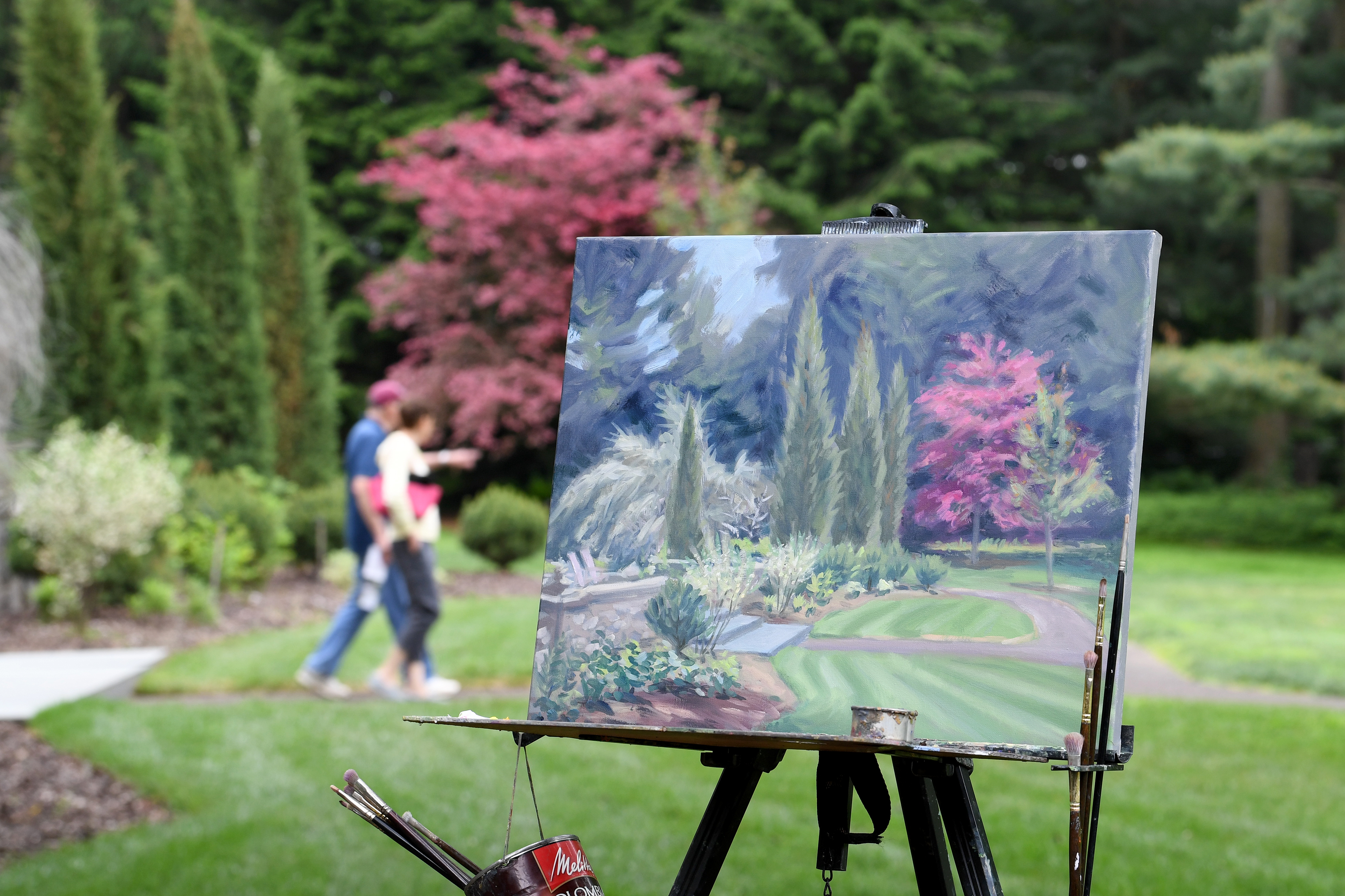 A painting in process from Dana McGahey,, is shown at the Stoneleigh Mansion in the natural lands garden located at 1829 County Line road, Philadelphia.Wednesday, May 30, 2018. The
