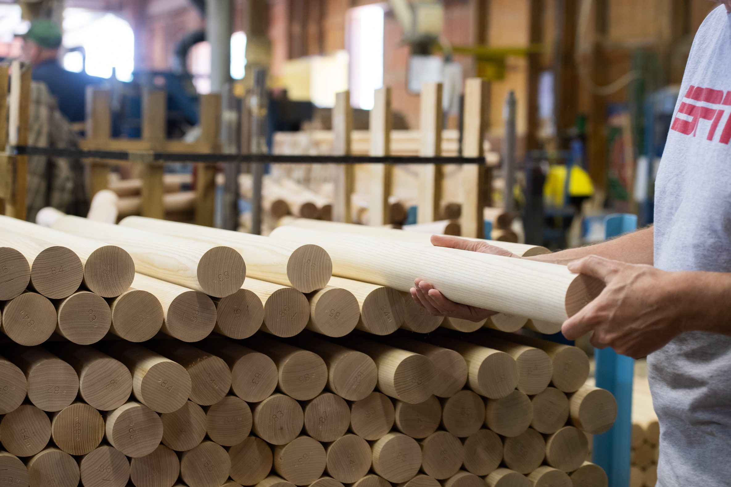Brian Boltz, who runs the Larimer & Norton Mill, located in northwest Pennsylvania just miles from the New York border, inspects an ash billet. Only 10,000 white-ash billets -- the piece of wood that becomes a bat -- will be produced for major-league use at the mill, down from 25,000 in 2014 and 50,000 in 2010.