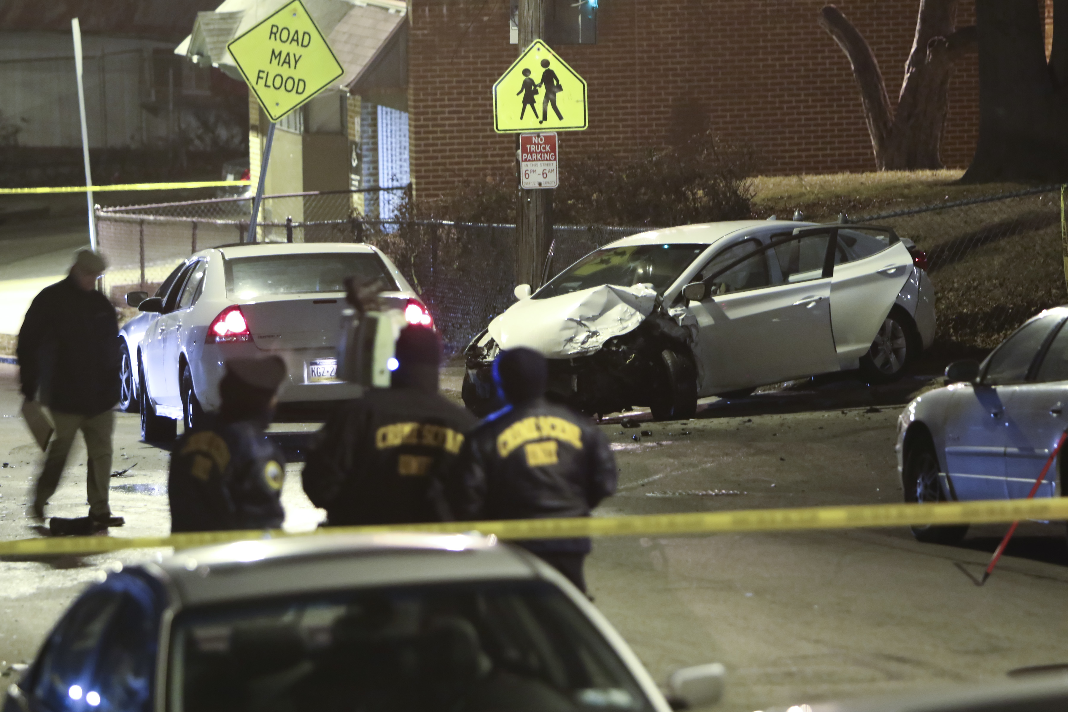 The white Hyundai driven by Dennis Plowden Jr. crashed on the 1900 block of Nedro Avenue near Opal Street in East Germantown on, Wednesday Dec. 27, 2017.