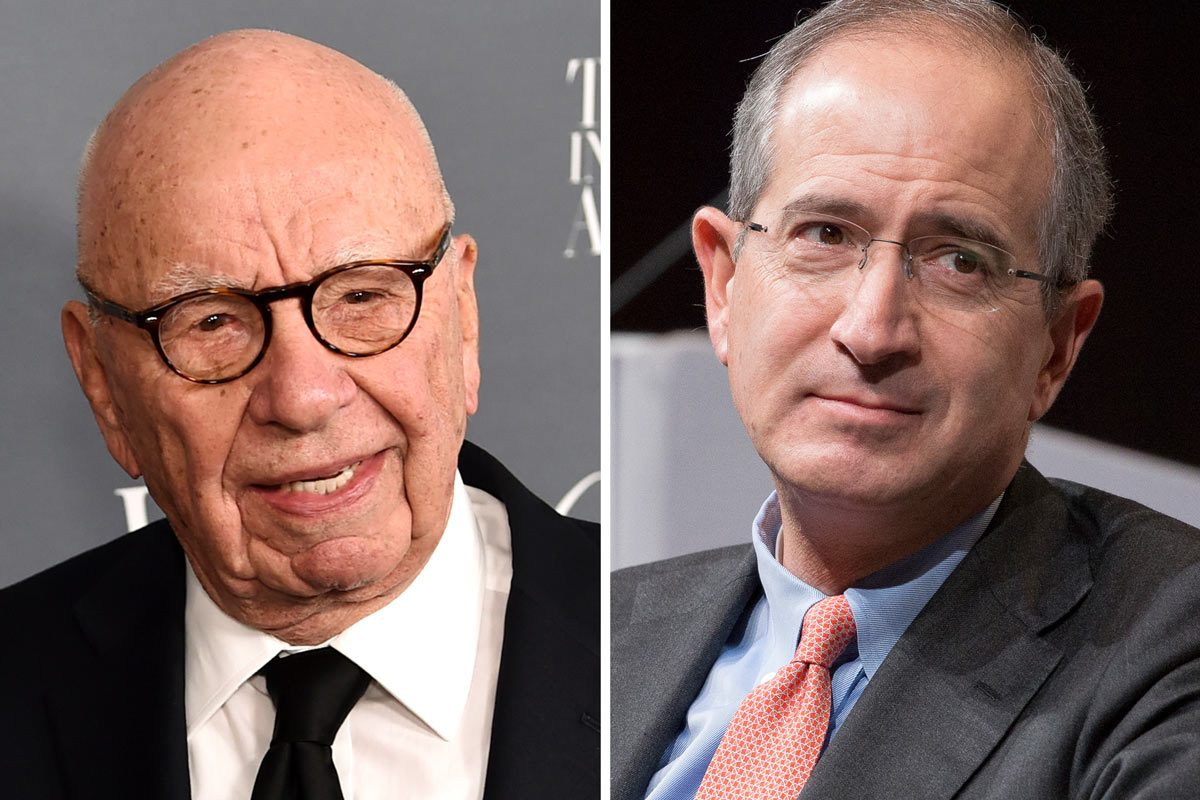 21st Century Fox CEO Rupert Murdoch, left, and Comcast CEO Brian Roberts.