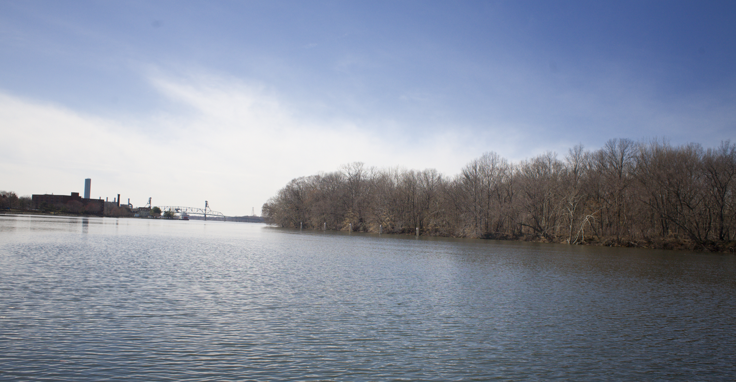 A view of the Delaware River from Burlington City. It includes a look at Burlington Island, a vacation spot for Philadelphians in its early 20th century heyday.