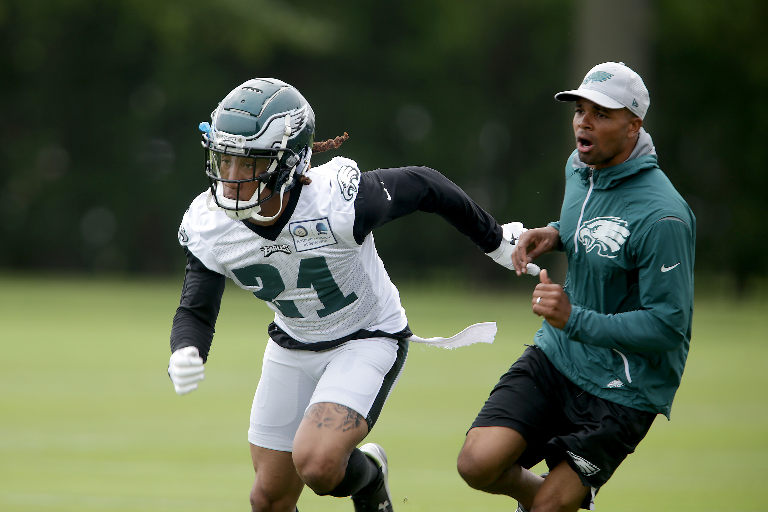 Eagles´ corner Ronald Darby, left, runs through a drill as the Eagles hold OTA´s at the NovaCare Complex in Philadelphia, PA on May 29, 2018.