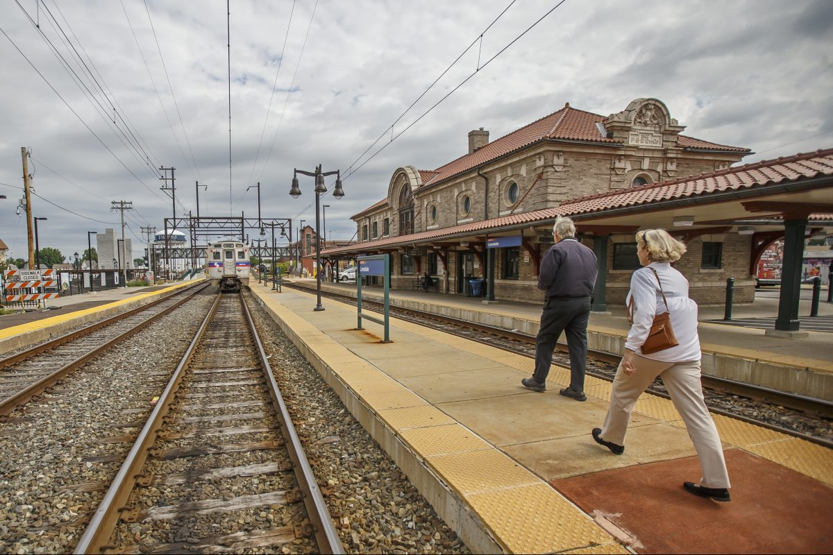Riders make their way to the northbound SEPTA train at the Lansdale Station on Main Street. Three years ago SEPTA refurbished the station, and since then the area around it has blossomed with new businesses such as coffee shops and a farmers market.