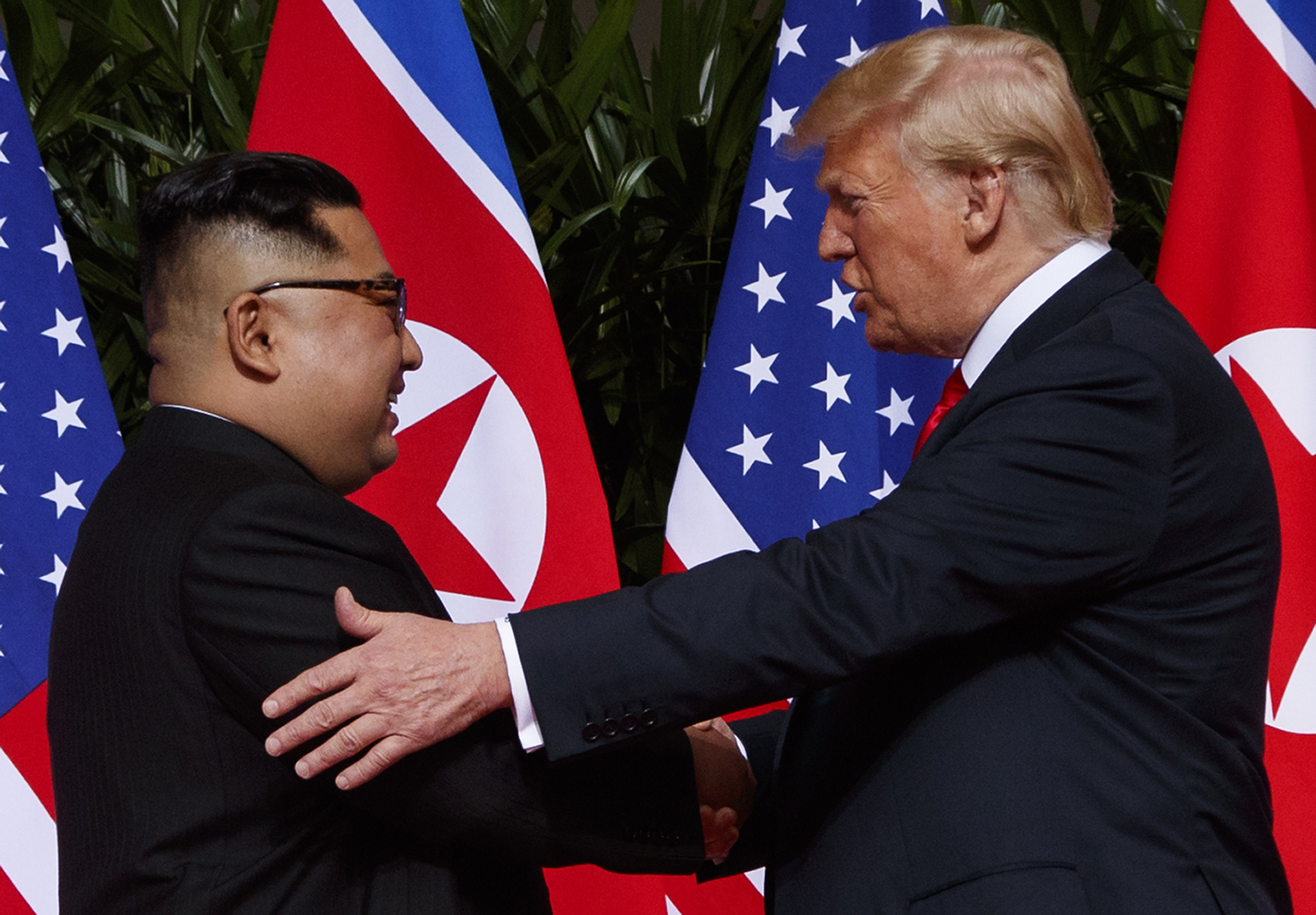 In this Tuesday, June 12, 2018, file photo, U.S. President Donald Trump meets with North Korean leader Kim Jong Un on Sentosa Island in Singapore.