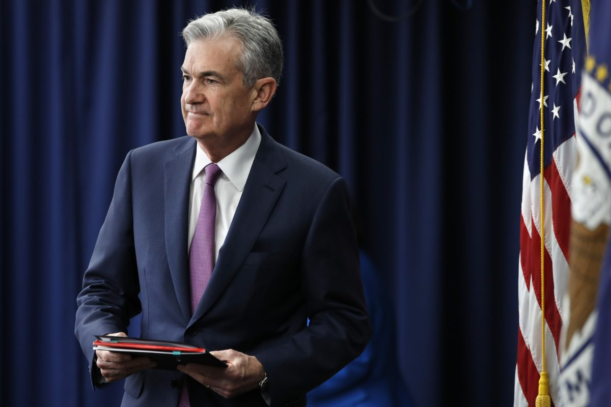 Federal Reserve Chair Jerome Powell arrives at a news conference after the Federal Open Market Committee meeting.