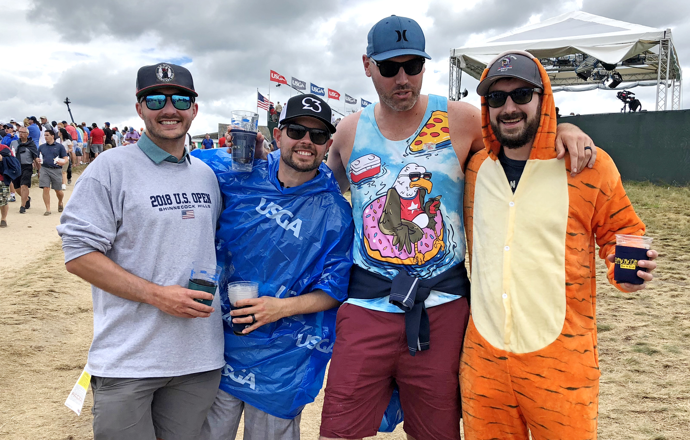 These buddies came from out west to watch the U.S. Open and Tiger Woods. From the left: Carter Hausel, 32, Los Angeles; Kevin Lewis, 31, Reno, Nev; Ken Kay, 33, Reno, Nev.; Braden Ankeny, 28, Las Vegas (in the Tiger costume).