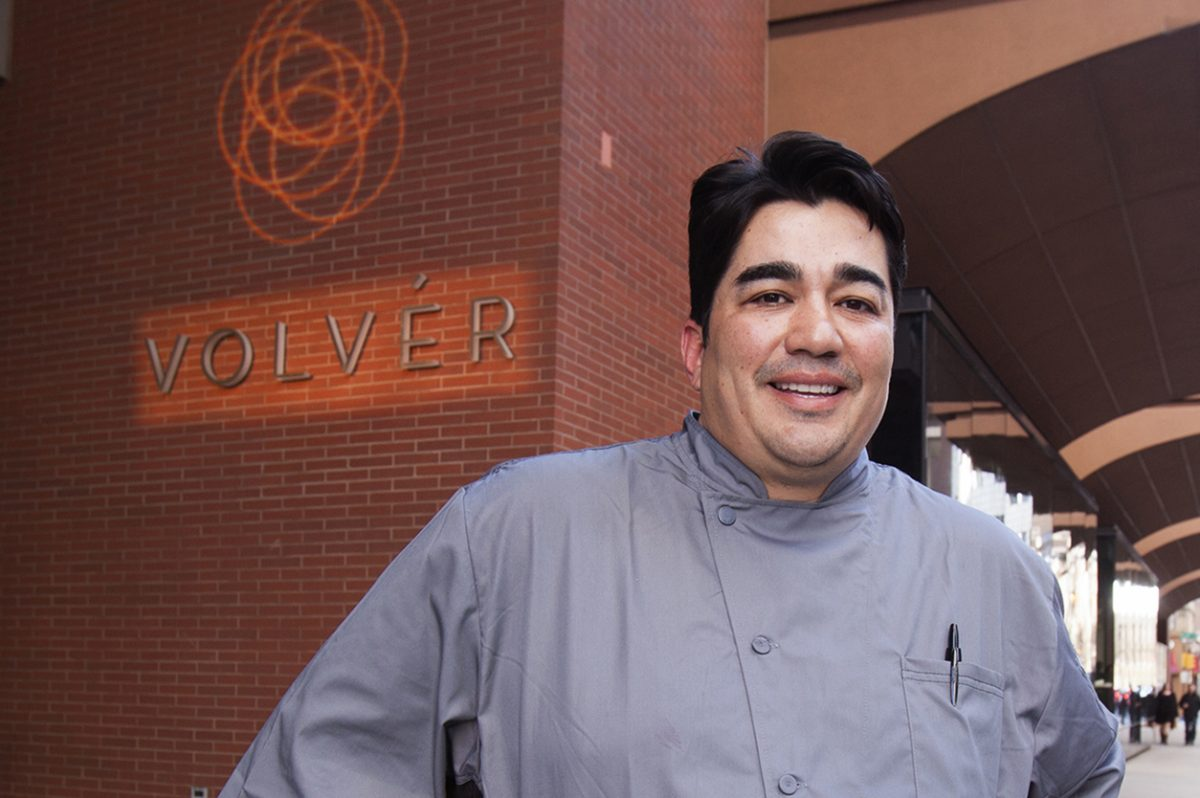 Chef Jose Garces outside his restaurant Volver, at the Kimmel Center.