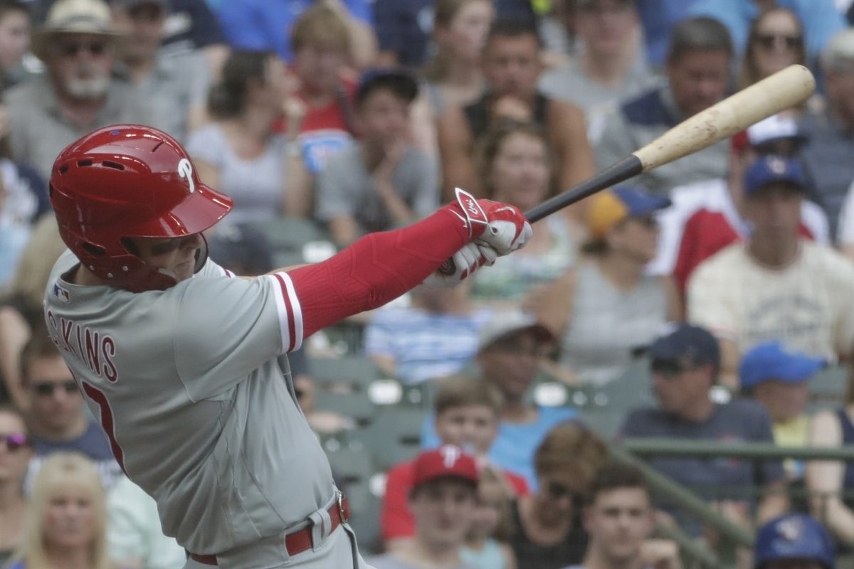 Phillies Rhys Hoskins homers against the Brewers on Saturday. It was the hardest home run of his life.