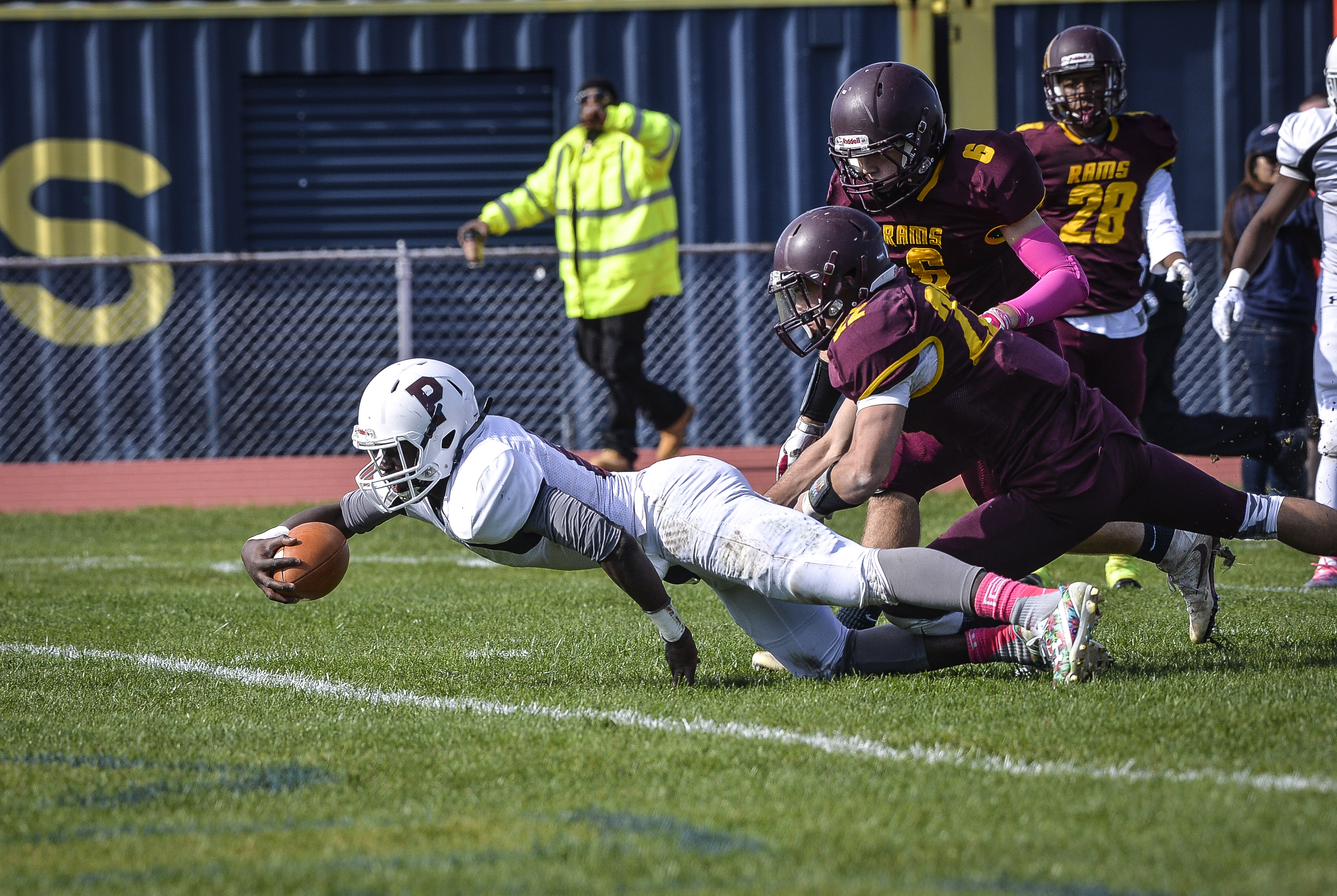 Toure is tackled one yard short of the end zone against Gloucester Catholic in 2016.