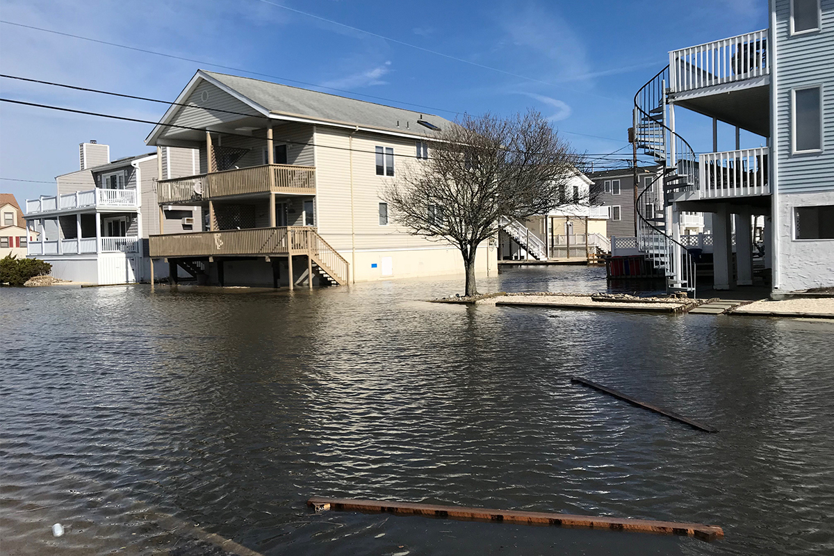 Flooding after high tide on Friday, March 3, 2018 at 30th Street and West Avenue in Ocean City.
