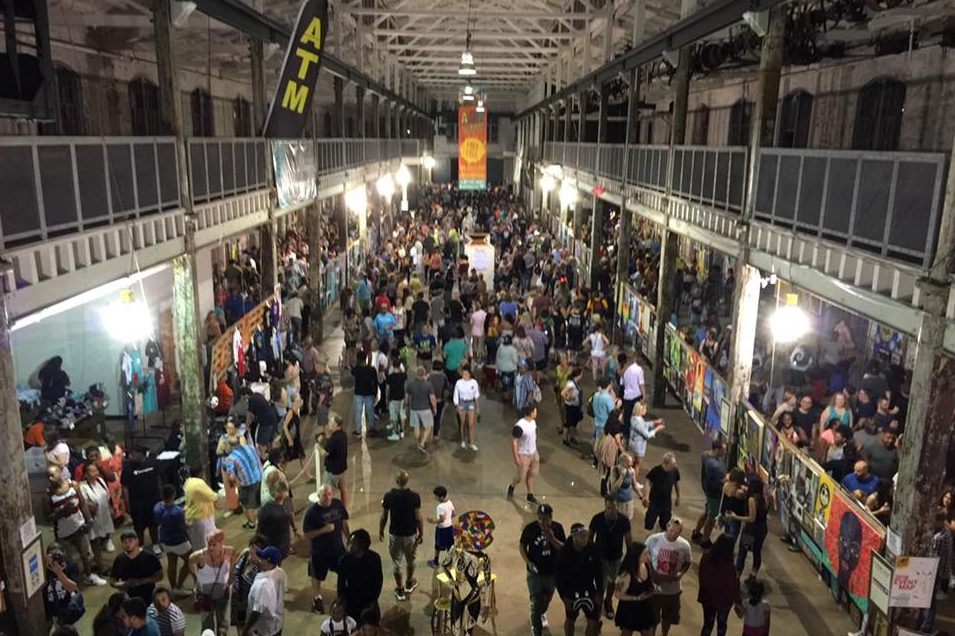 A view of the Art All Night festival several hours before gunfire erupted early Sunday leaving one dead and 22 injured.