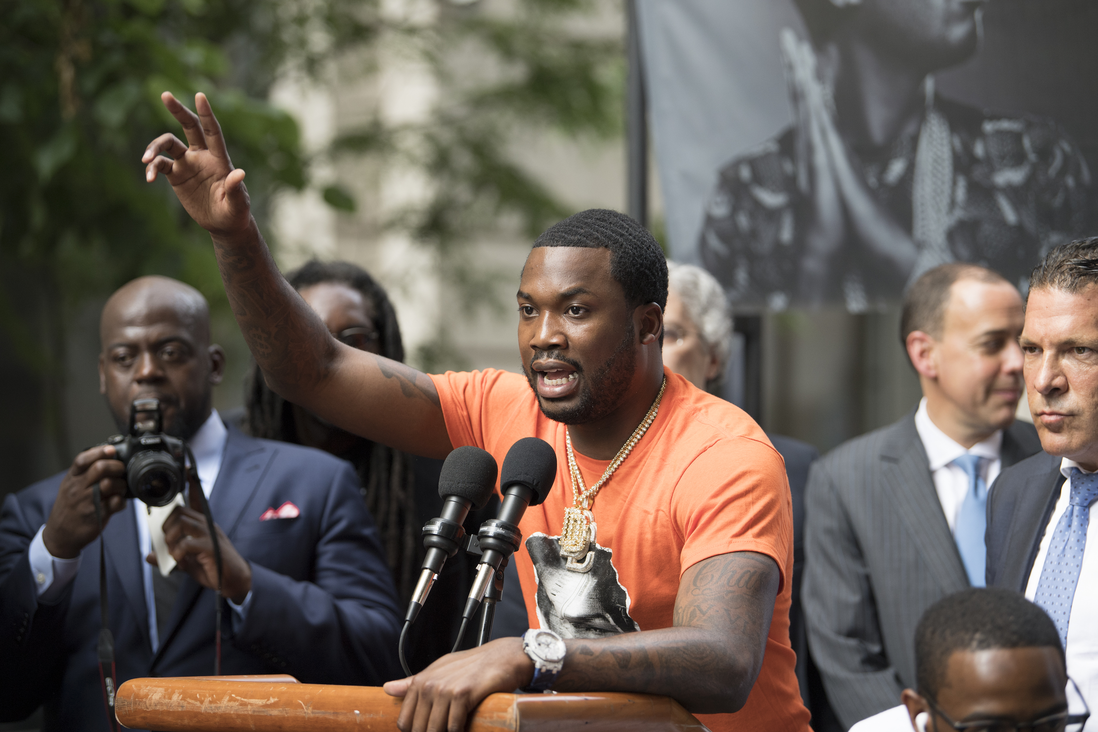 Rapper Meek Mill speaks to supporters after leaving the Philadelphia Criminal Justice in Center City Philadelphia following a hearing before Judge Genece Brinkley on Monday, June 18, 2018.