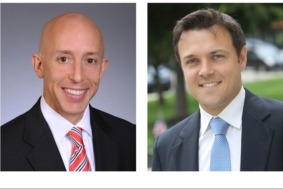 Brian Zidek (left) and Kevin Madden were the first Democrats elected to the Delaware County Council in four decades.