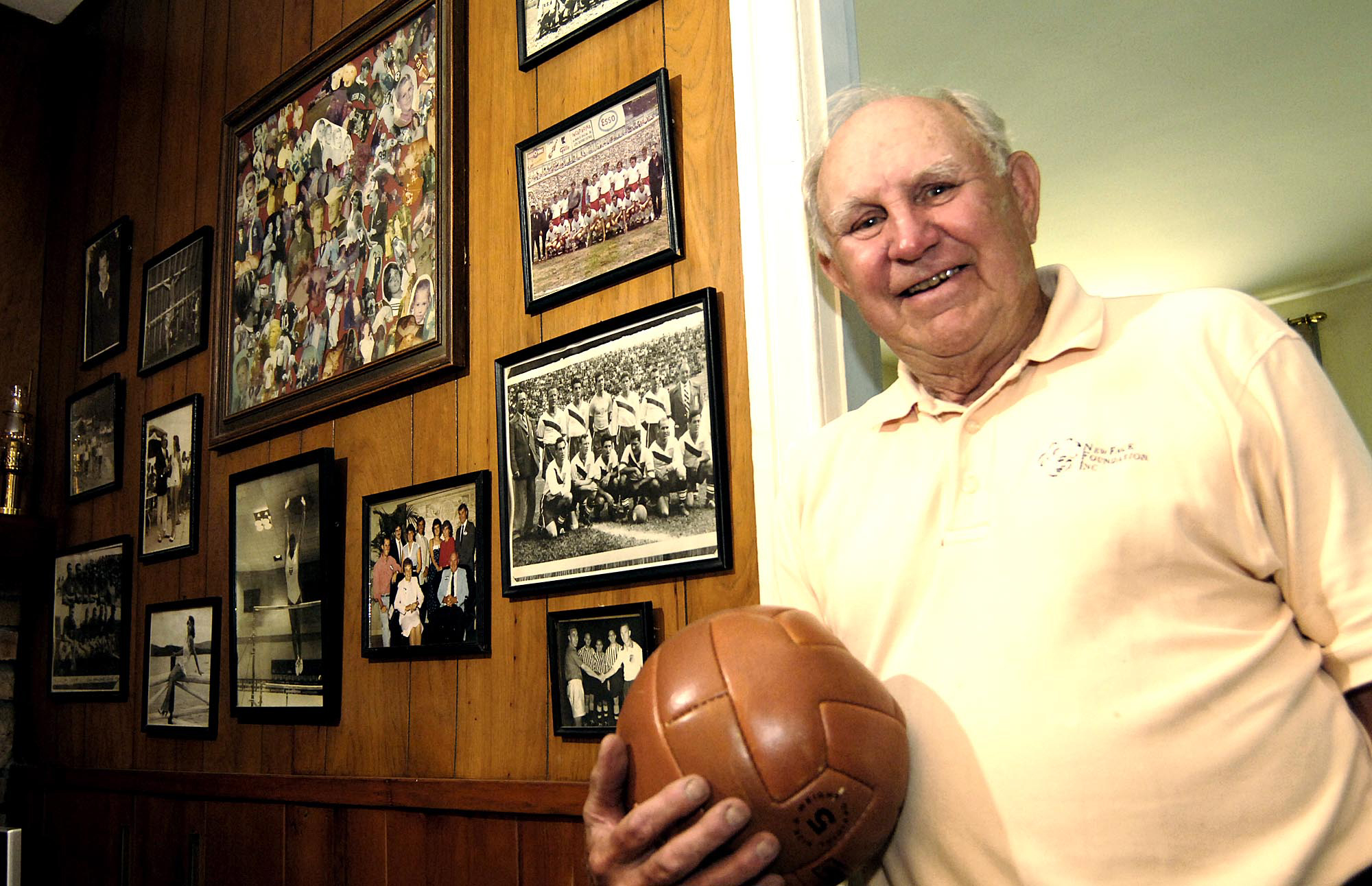 Walter Bahr at his Boalsburg home in 2006. Bahr kept lots of memorabilia from his days as a U.S. national team player.