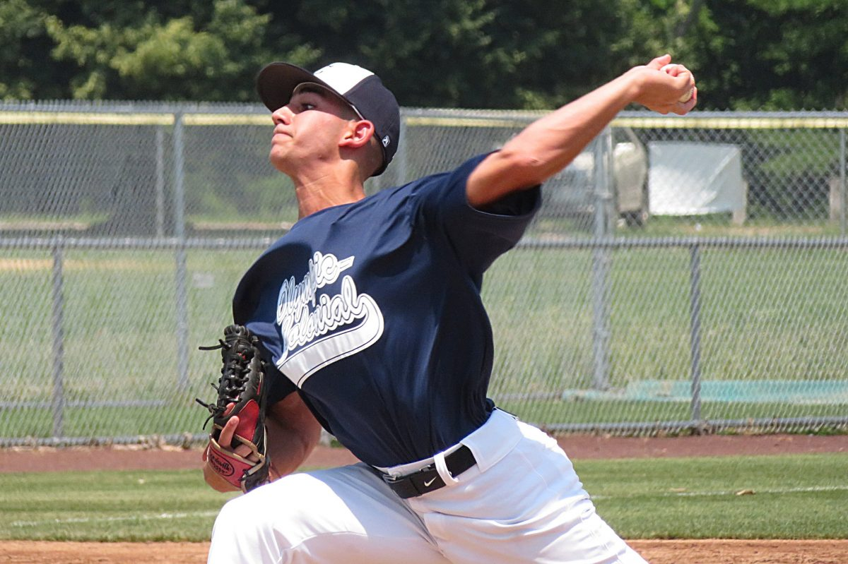 Eli Atiya of Cherry Hill West struck out three in his lone inning in Olympic-Colonial´s 14-13 win over Tri-Cape in a second-round Carpenter Cup game.