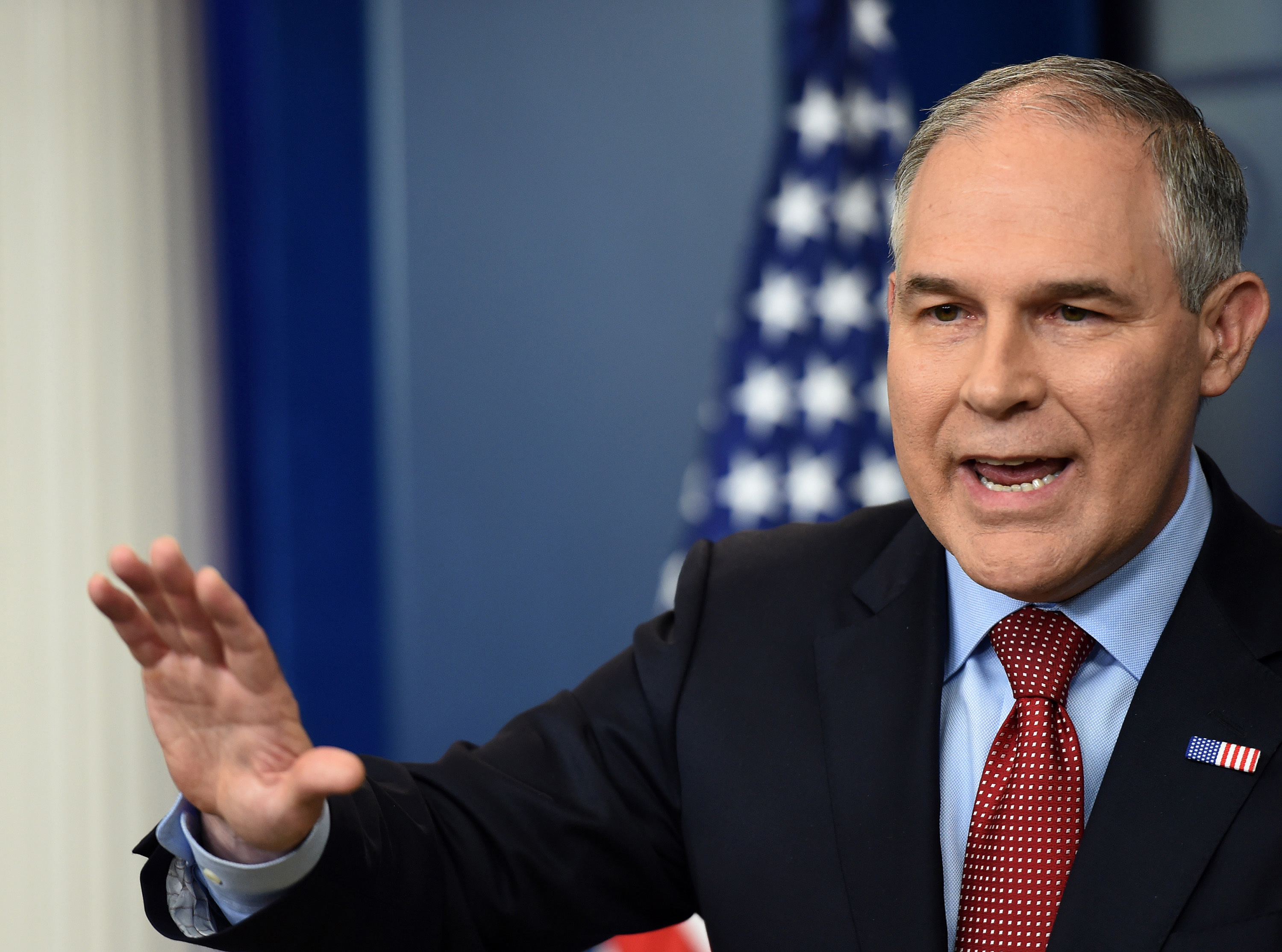 EPA Administrator Scott Pruitt speaks on June 2, 2017, during a briefing in the Brady Briefing Room at the White House in Washington D.C. (Molly Riley/Sipa USA/TNS)