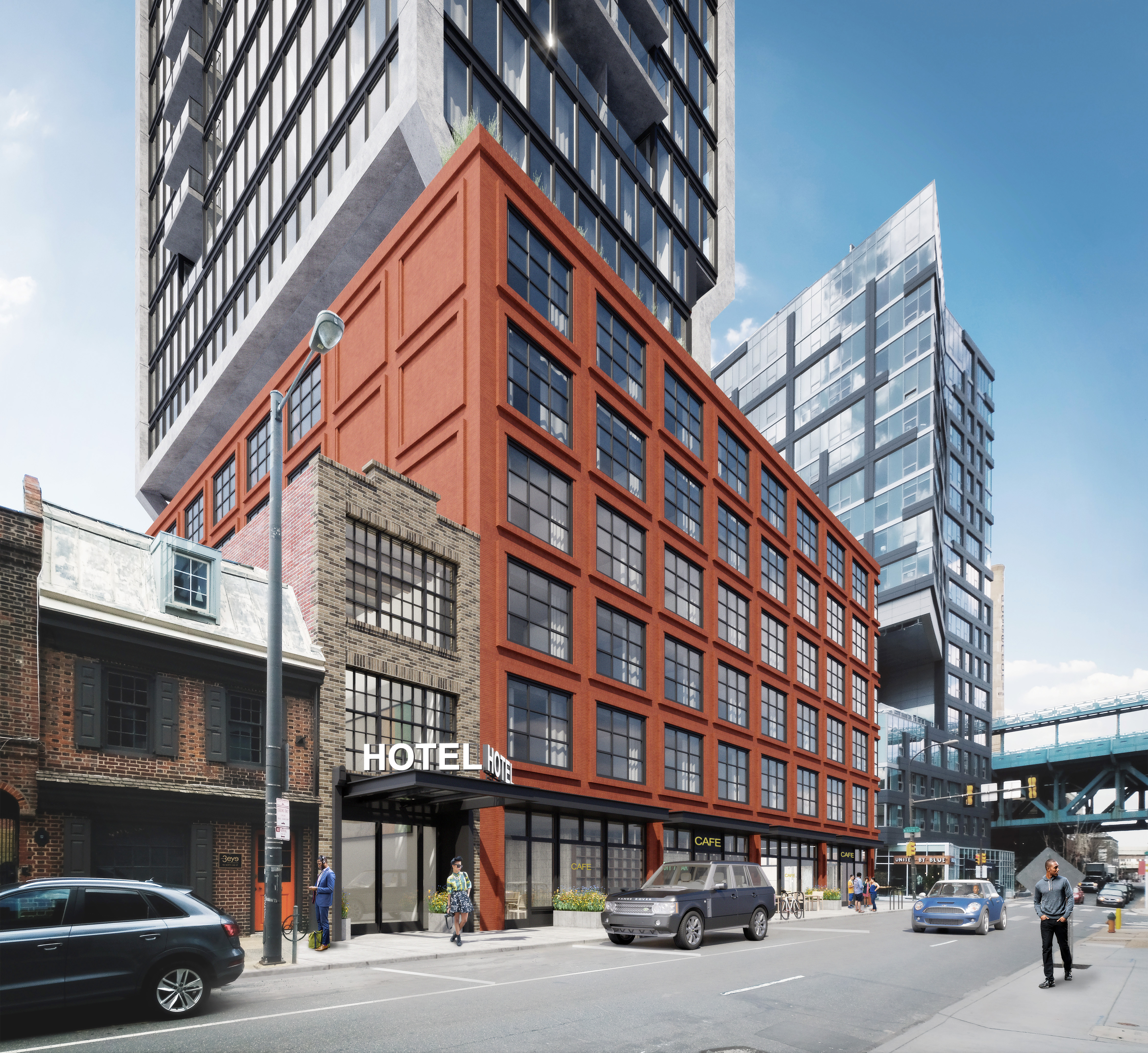 Artist´s rendering of planned hotel and condo tower at Second and Race Streets, as seen looking north on Second Street.