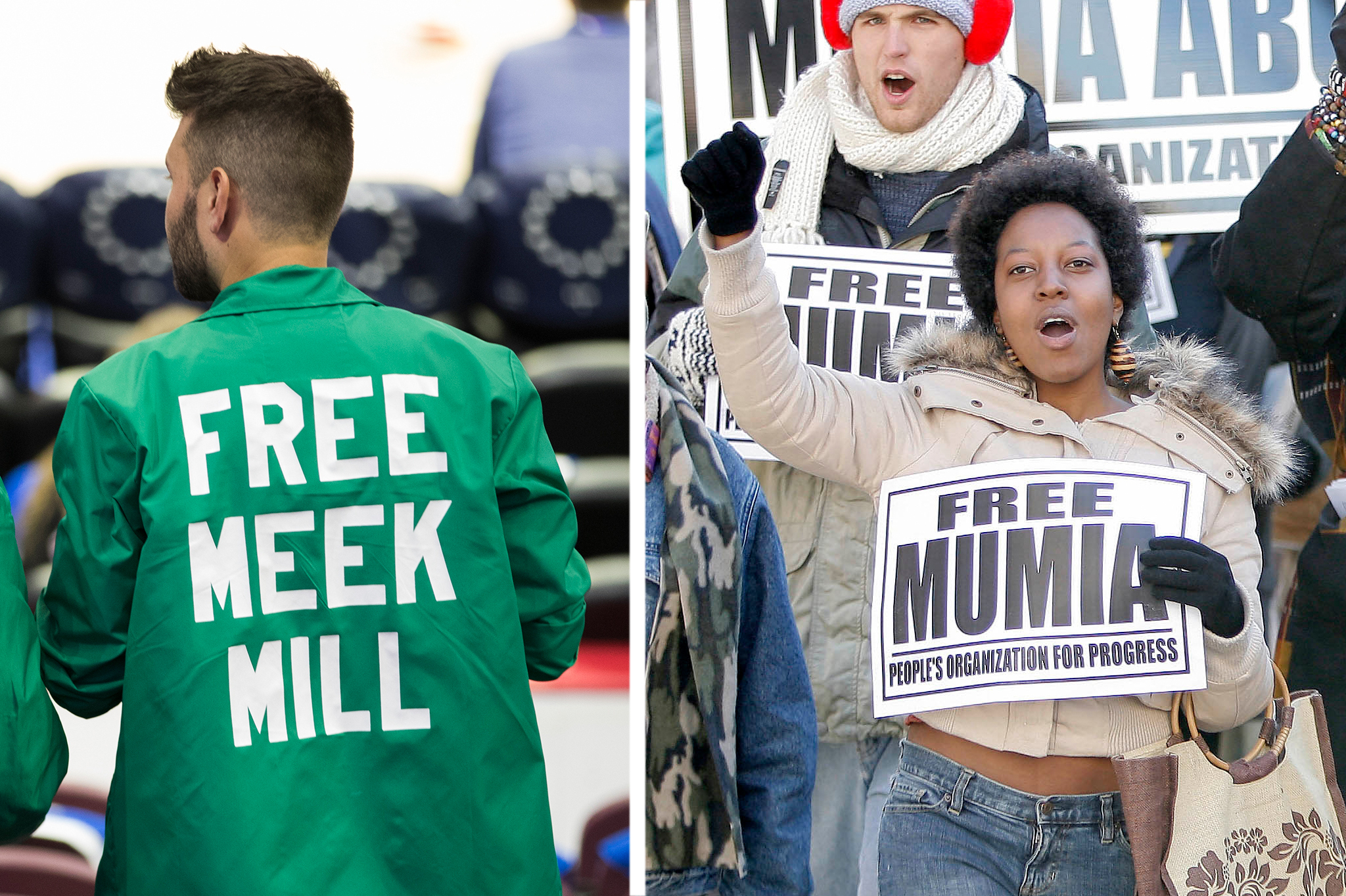 A Meek Mill supporter, left, wears his feelings on his back during a Sixers game at Wells Fargo Center on April 24, 2018. Twelve years earlier, a Mumia Abu-Jamal backer, right, participated in a protest march on North Broad Street in 2006.