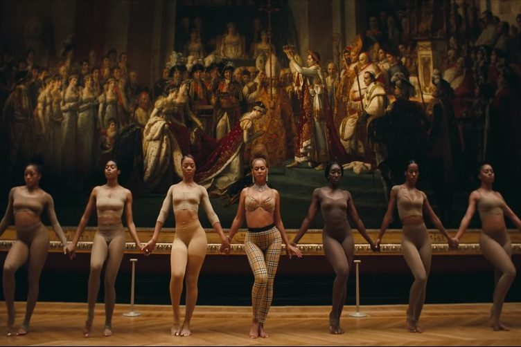 Beyonce and APES- dancers. Dominique Loude '17 (Dance) left of Beyonce; Ashley Seldon '07 (Dance) on the far right.