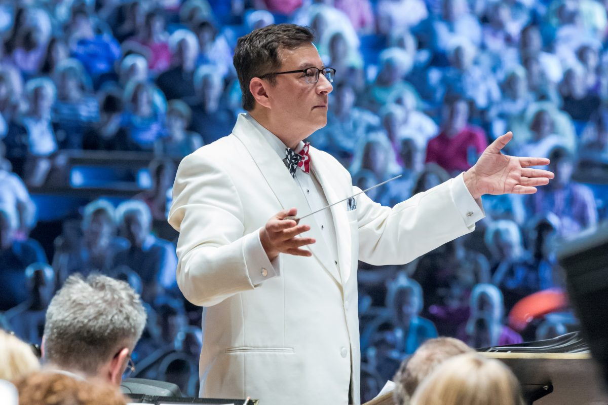 Conductor Todd Ellison leading the Philly Pops at the Mann Center this past Memorial Day weekend.