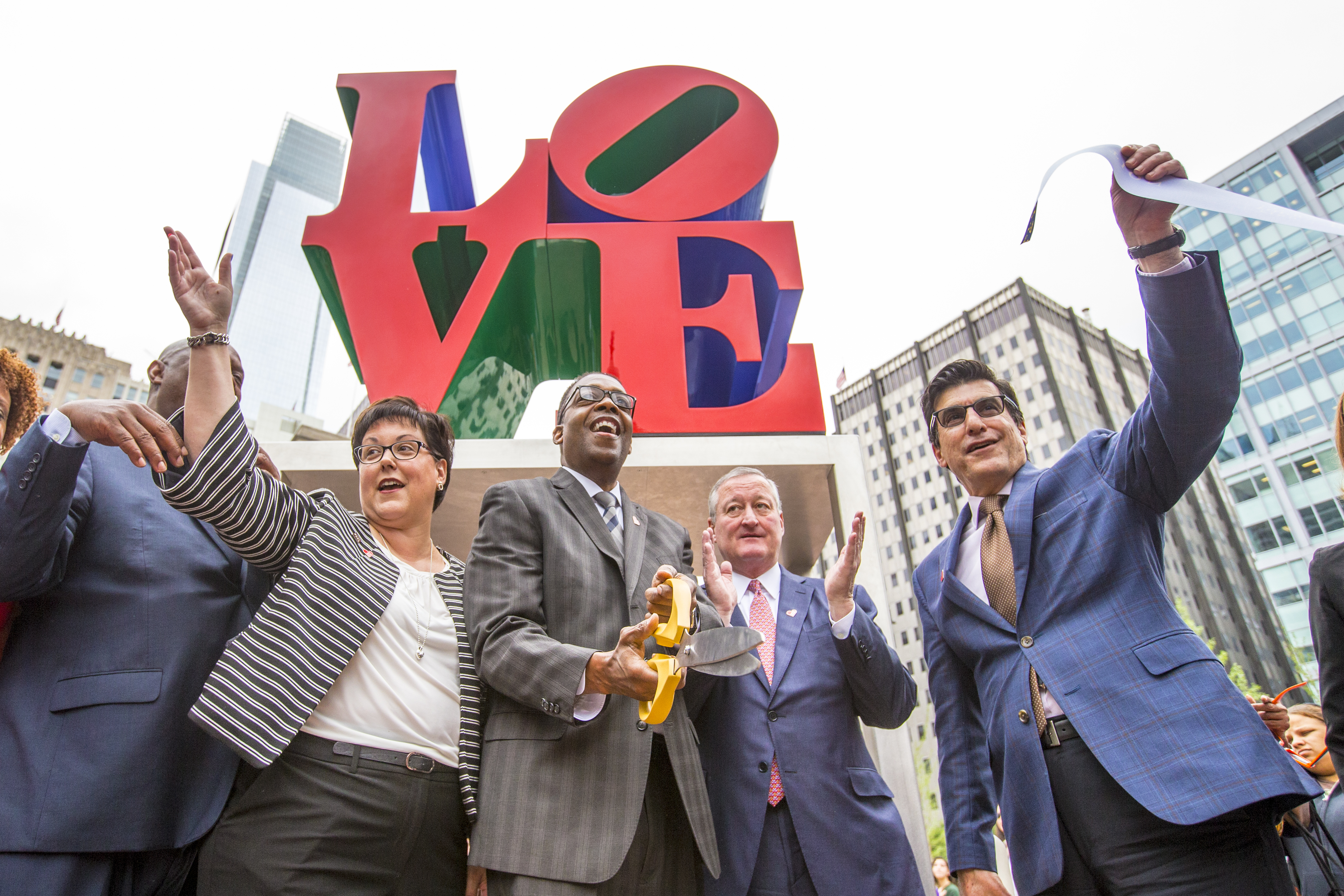 LOVE Park is officially rededicated on Wednesday, May 30, 2018, by (left to right) Philadelphia Parks and Recreation Commissioner Kathryn Ott Lovell, City Council President Darrell Clarke, Philadelphia Mayor Jim Kenney and Managing Director Michael DiBerardinis.