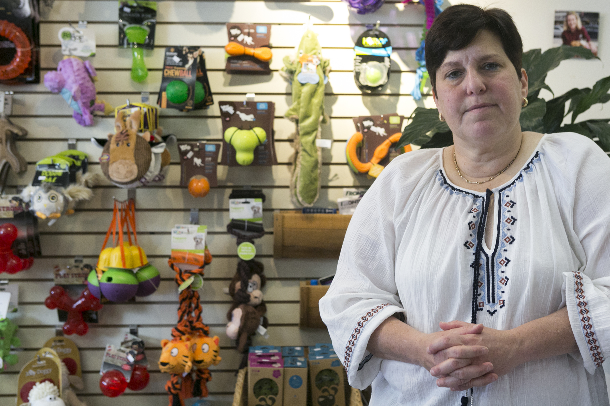 Andrea Deutsch stands in her Narberth pet store on Forrest Avenue.