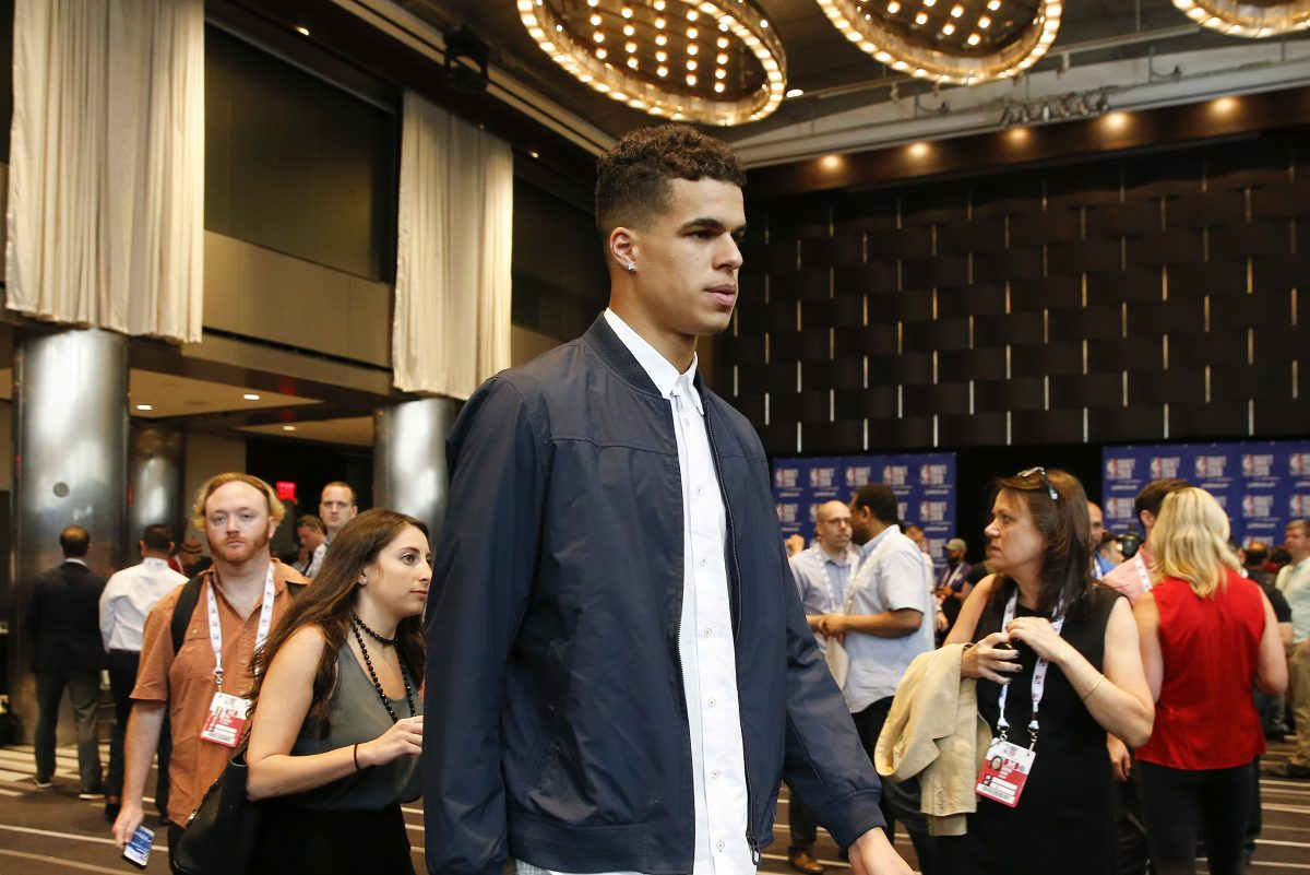 Michael Porter Jr., walks to his table before meeting with the media during the NBA pre-draft top prospect availability on Wednesday, June 20, 2018 in New York.