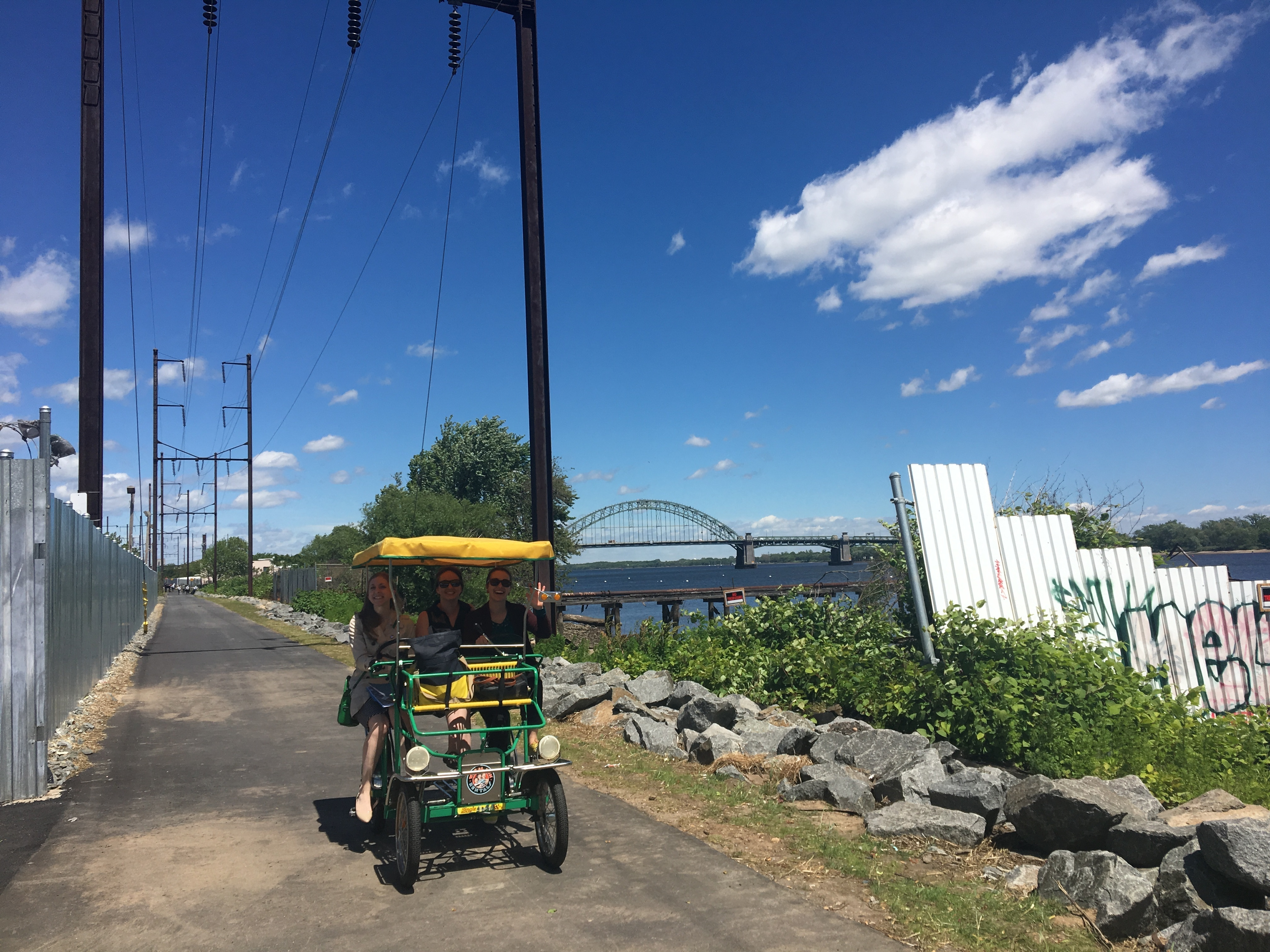 The Delaware waterfront trail added another section this week in Tacony. Despite having less residential density and more active industry, the northern portion of the trail has proceeded more quickly than the southern portion.