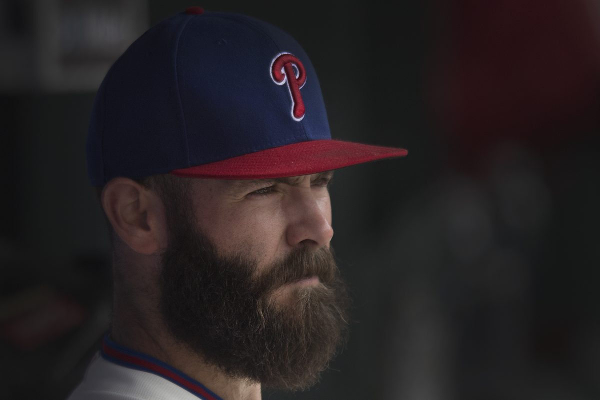 Philadelphia Phillies starting pitcher, Jake Arrieta, (49), looks on minutes before facing the ST. Louis Cardinals at Citizens Bank Park, Philadelphia. Wednesday, June 20, 2018.