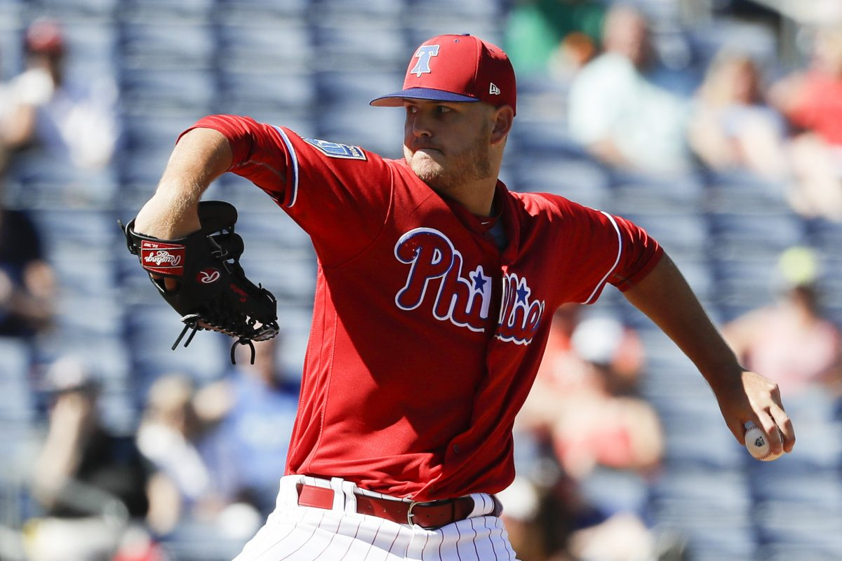 Cole Irvin pitching for the Phillies during spring training.