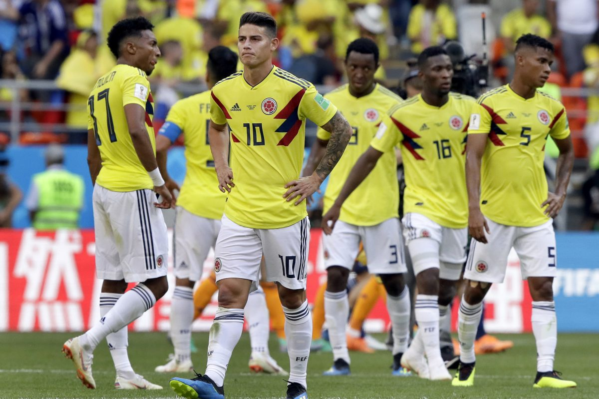 James Rodriguez (No. 10) played only 31 minutes as a second half substitute in Colombia´s loss to Japan at the World Cup.