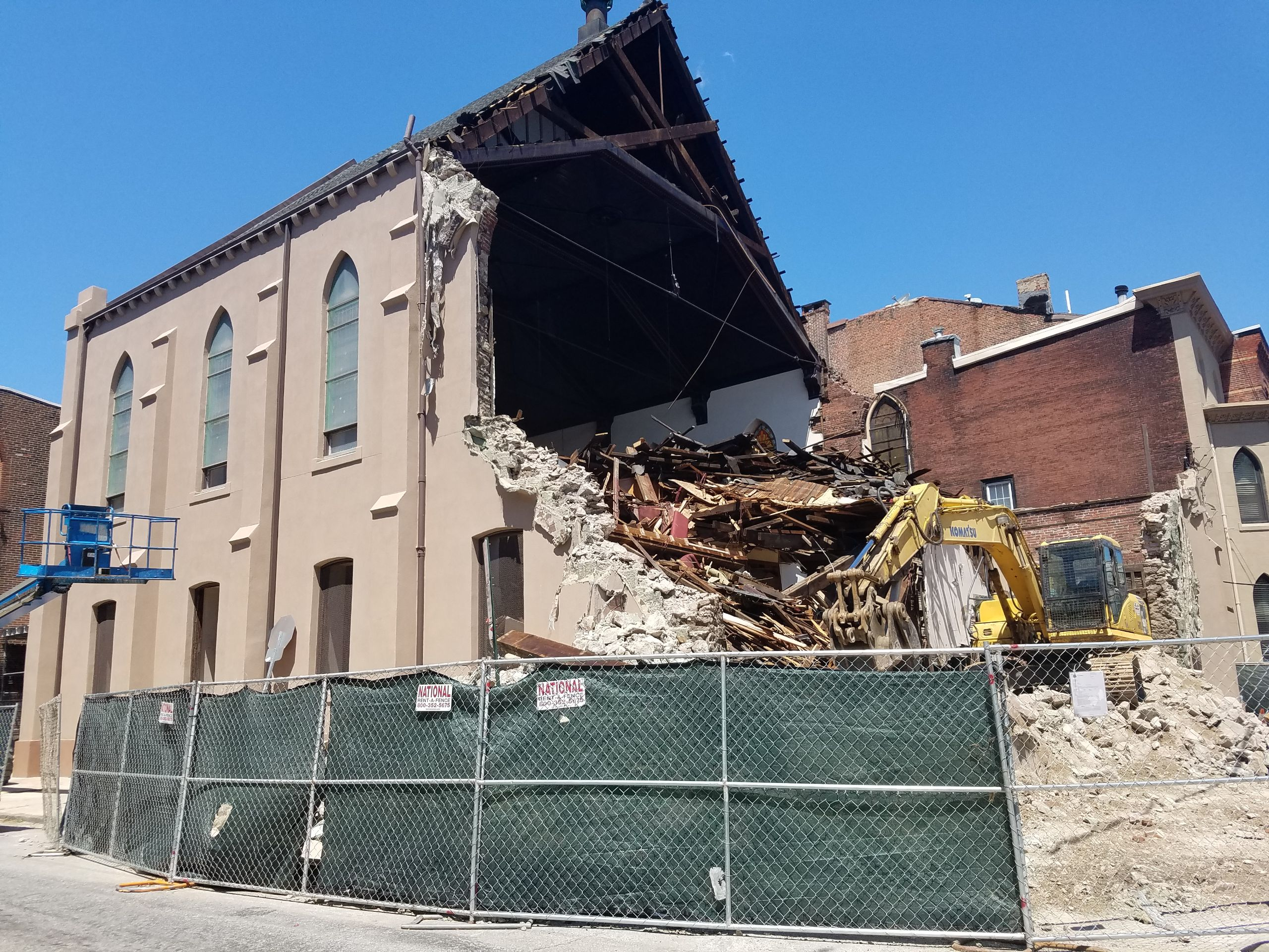 Demolition of New Light Beulah Baptist Church at 17th and Bainbridge Streets in South Philadelphia.