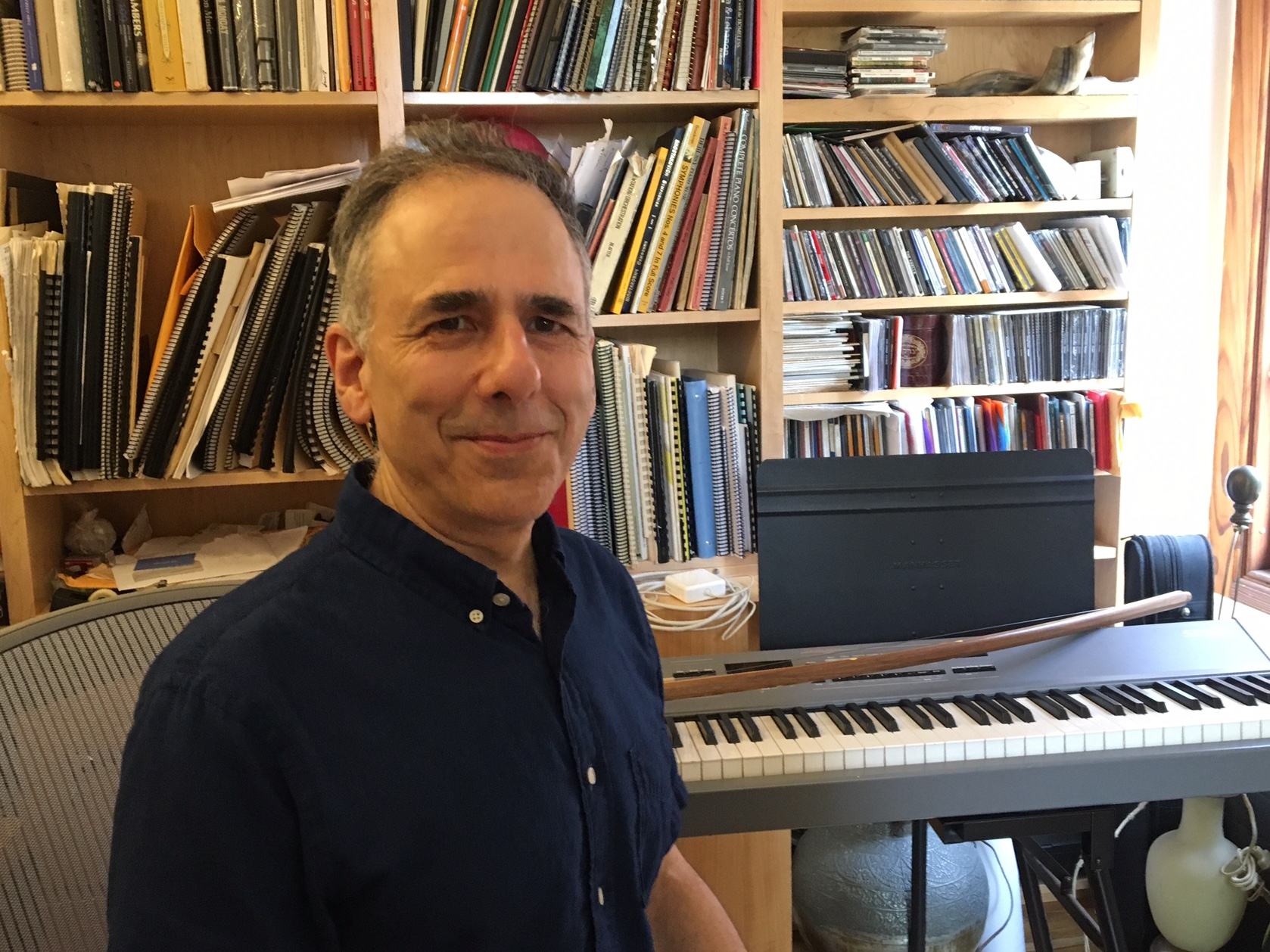 Composer Michael Gordon at his studio on Desbrosses Street in lower Manhattan